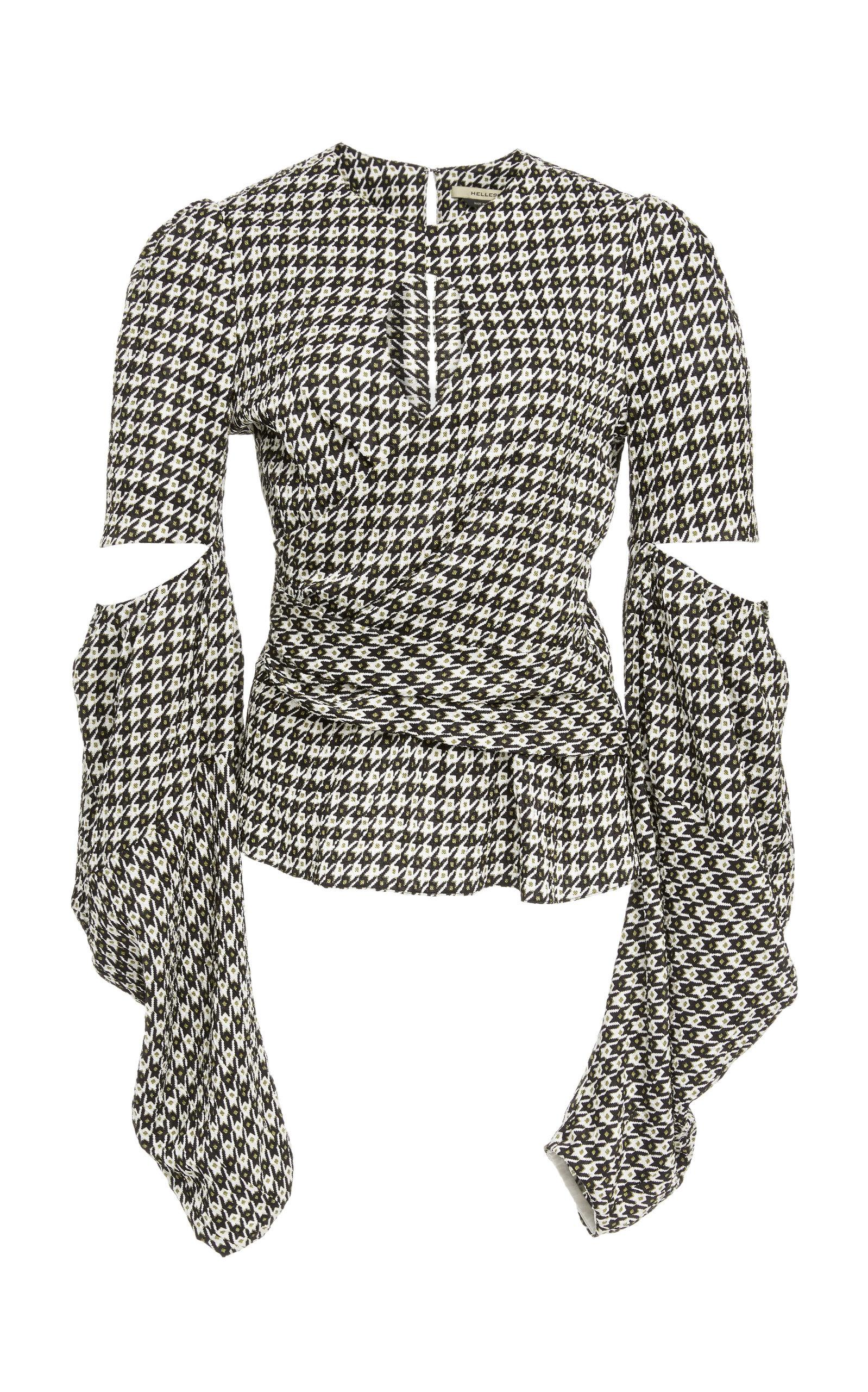 Hellessy Celeste Cutout Houndstooth Jacquard Blouse In Ecru/black/yellow