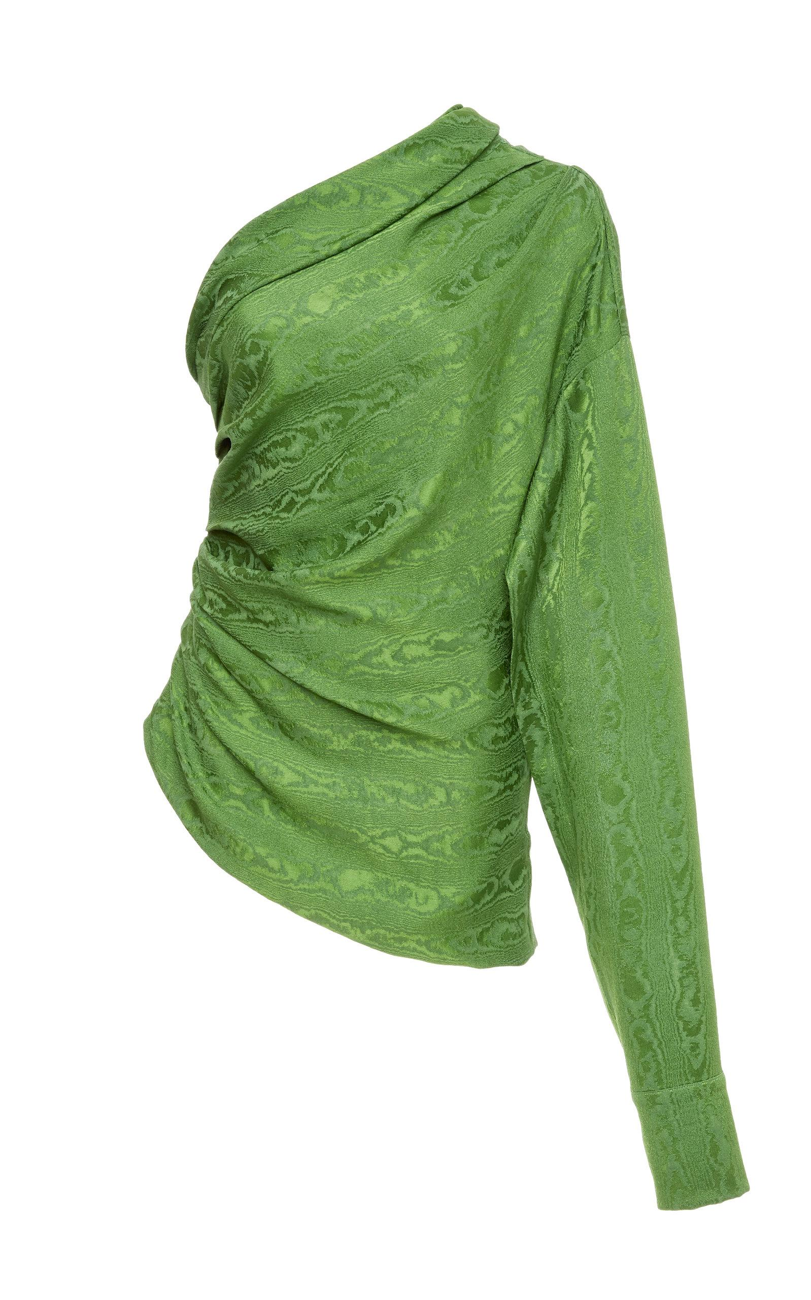 Hellessy Paley One Shoulder Shirt In Green