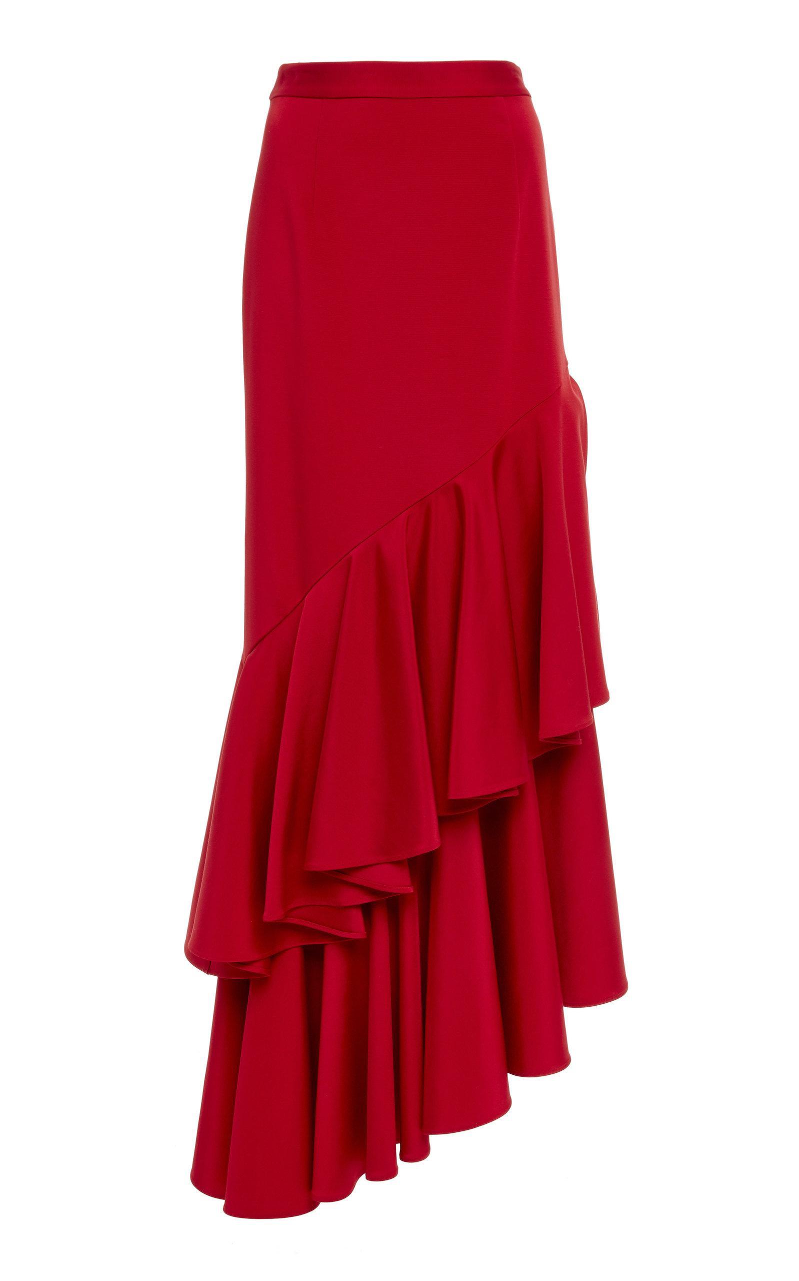Hellessy Poppy Ruffle Skirt In Red