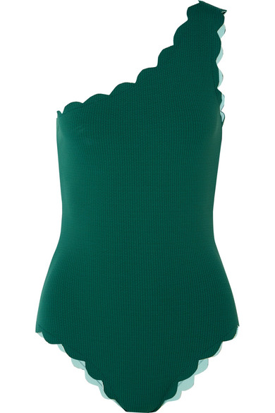 Marysia Santa Barbara Scalloped One-shoulder One-piece Swimsuit In Emerald