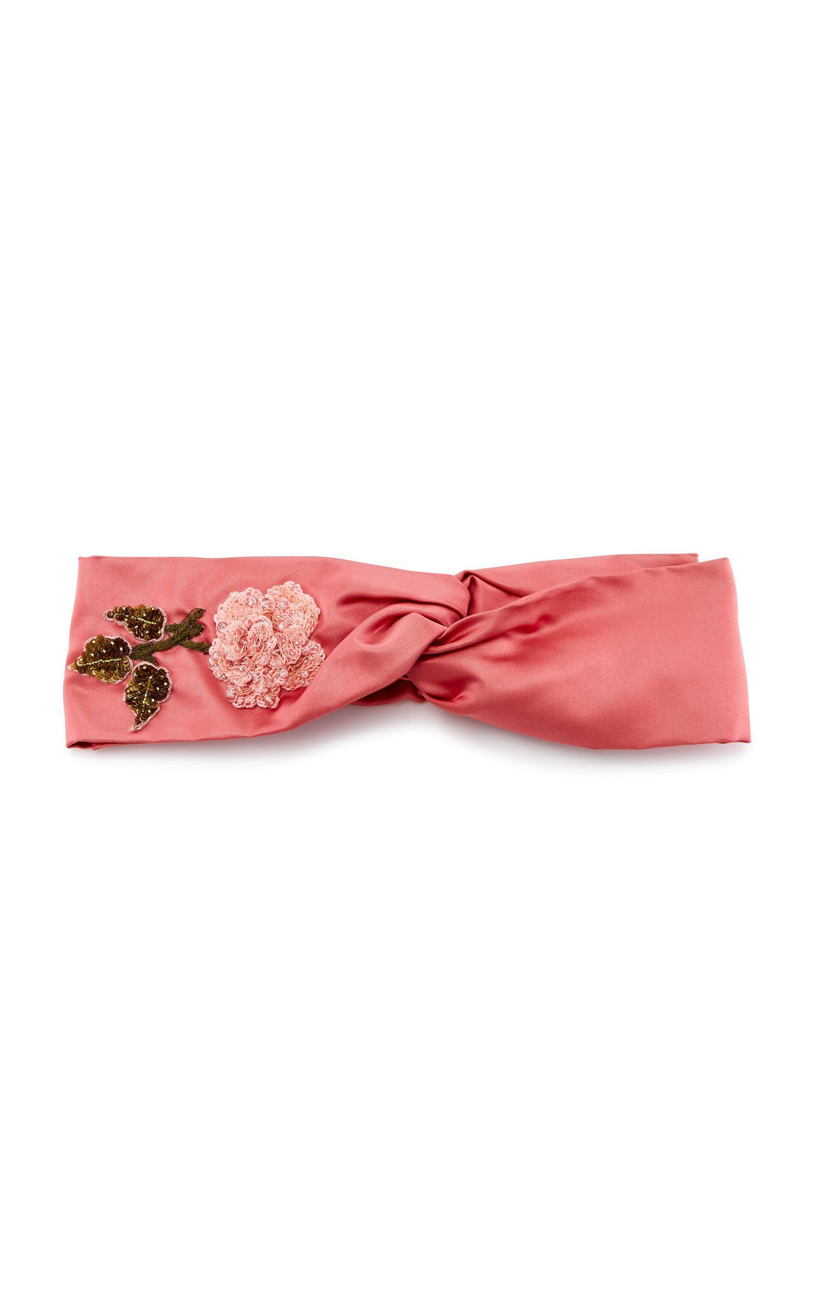 Jennifer Behr Embellished Silk-satin Headband In Pink