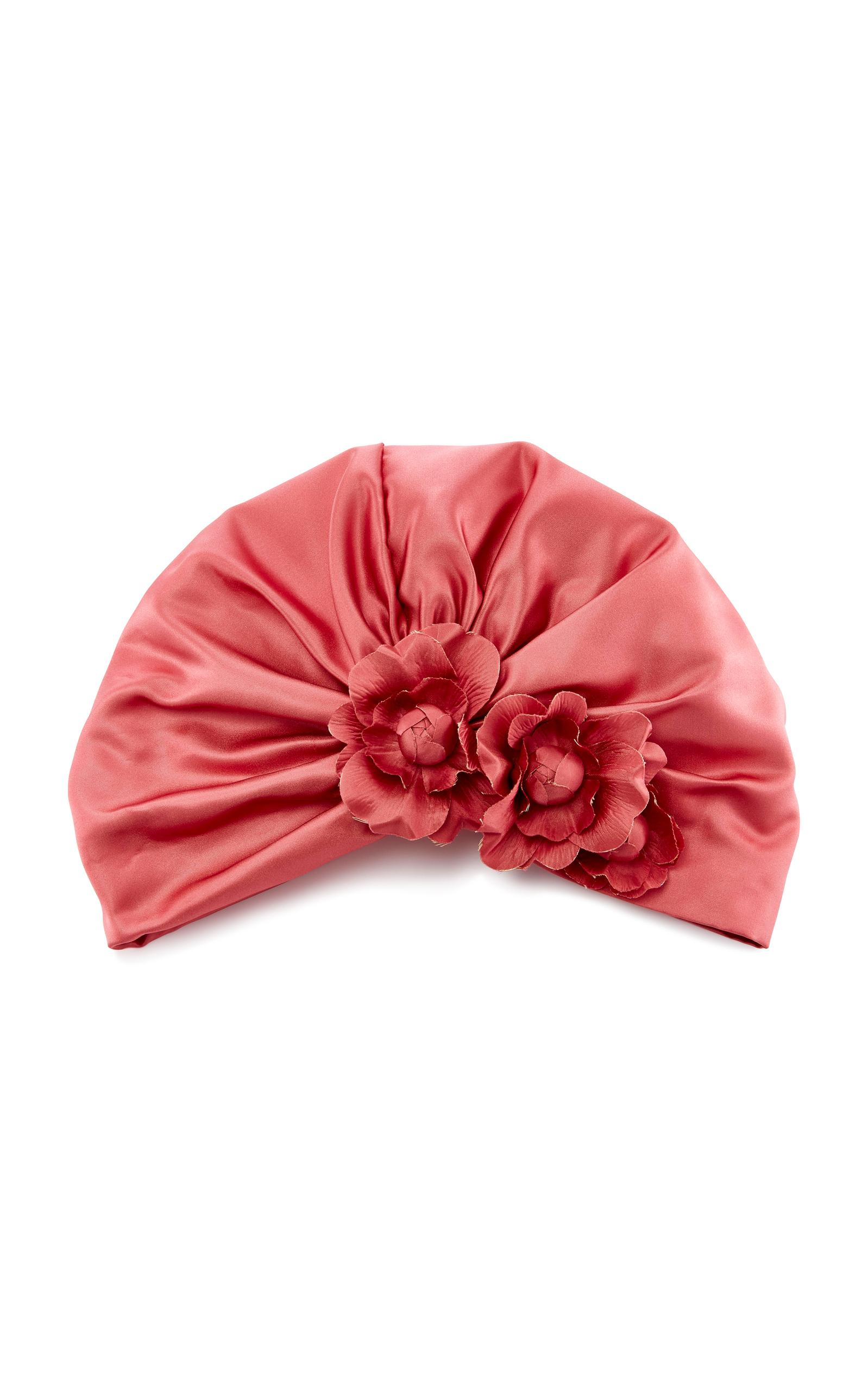 Jennifer Behr Floral Silk-satin Turban In Pink