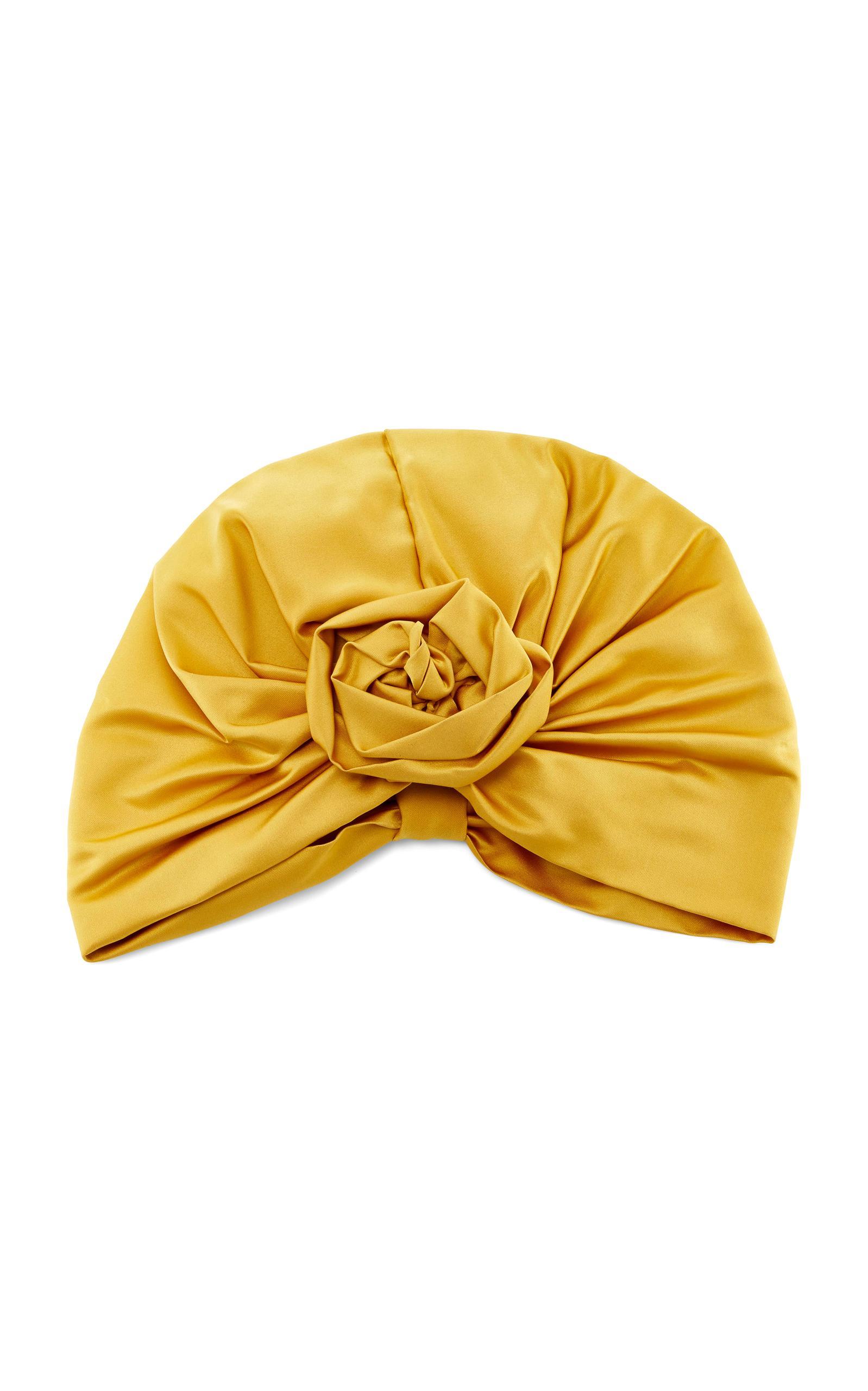 Jennifer Behr Rosette Silk-satin Turban In Gold