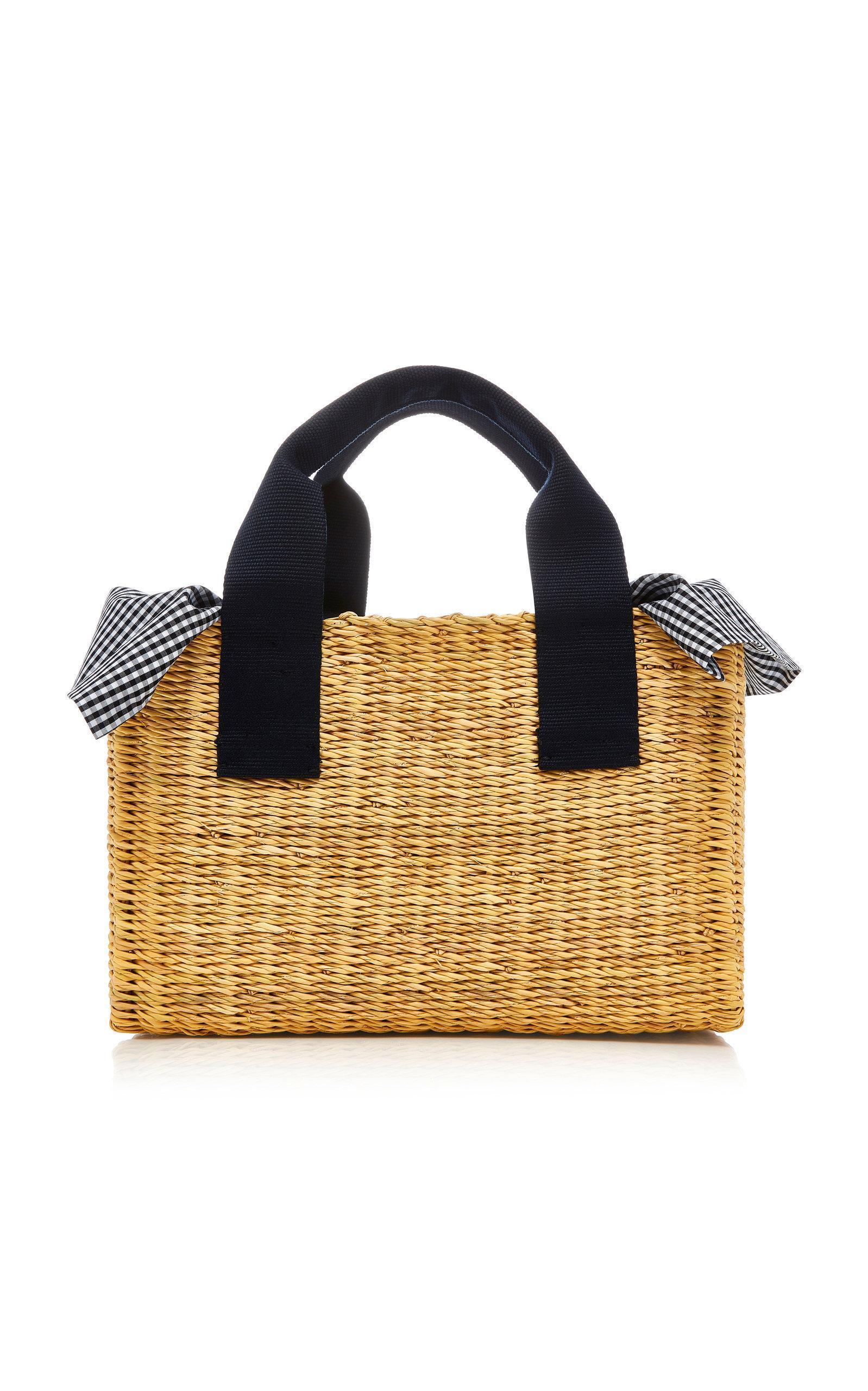 Muun Cotton Trimmed Straw Bag In Navy