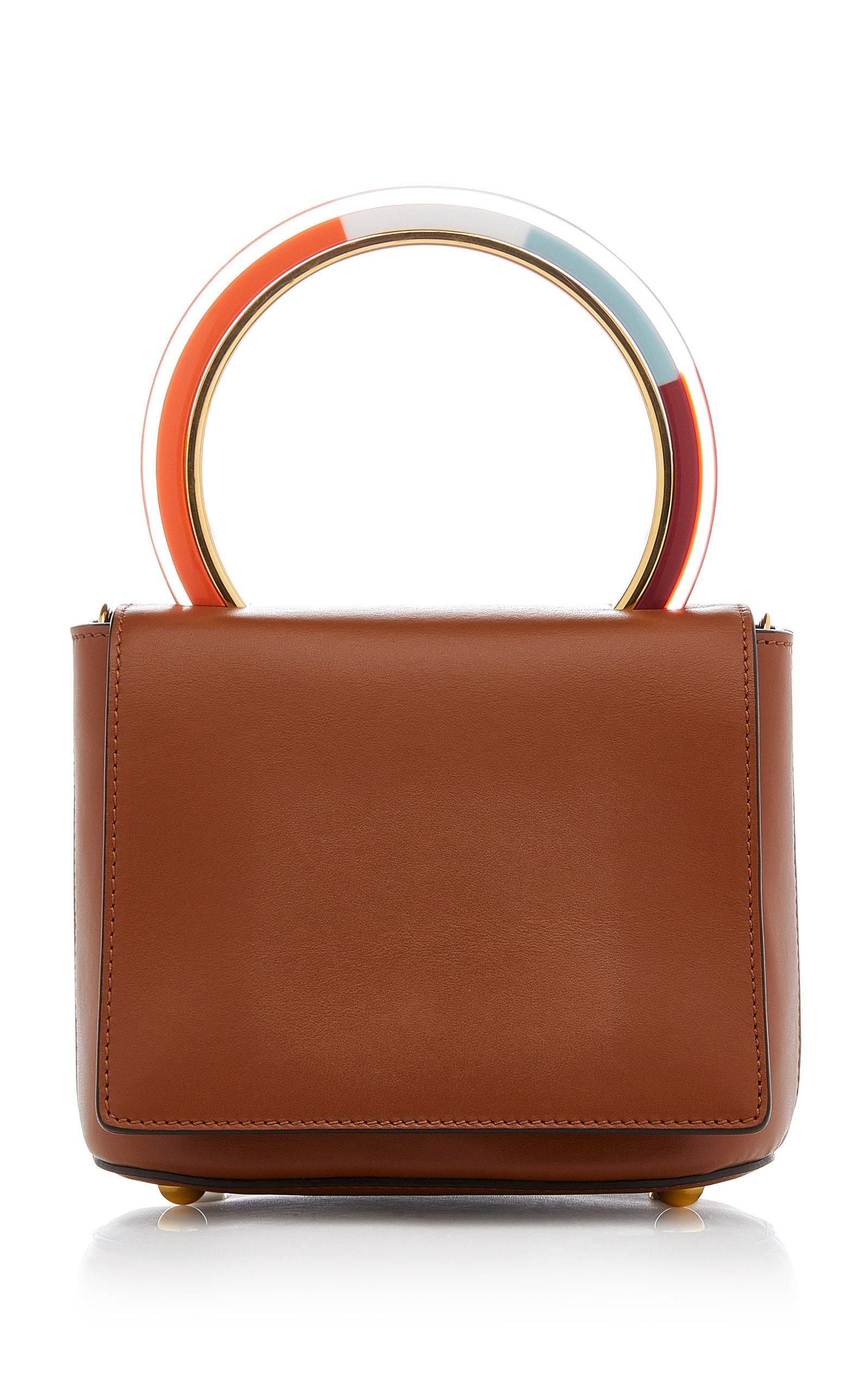 Marni Color-block Top Handle Shoulder Bag In Burgundy