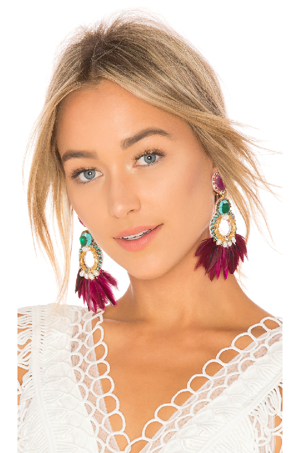 Ranjana Khan PaquetÁ Feather Embellished Earrings In Burgundy