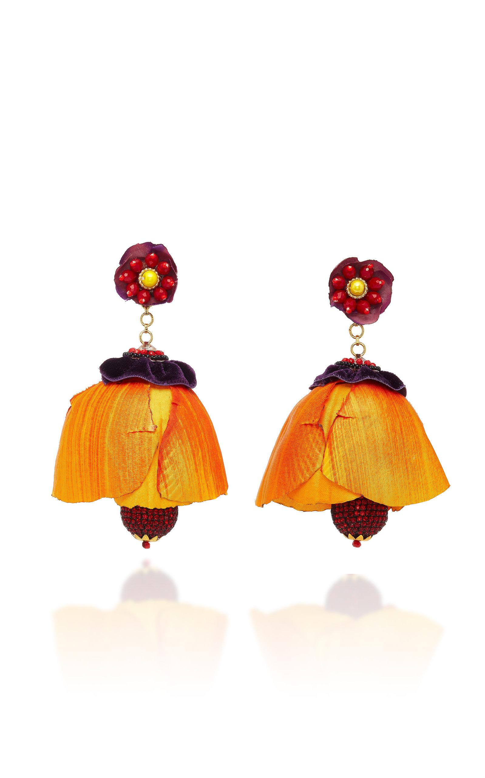 Ranjana Khan Tecoma Earrings In Orange