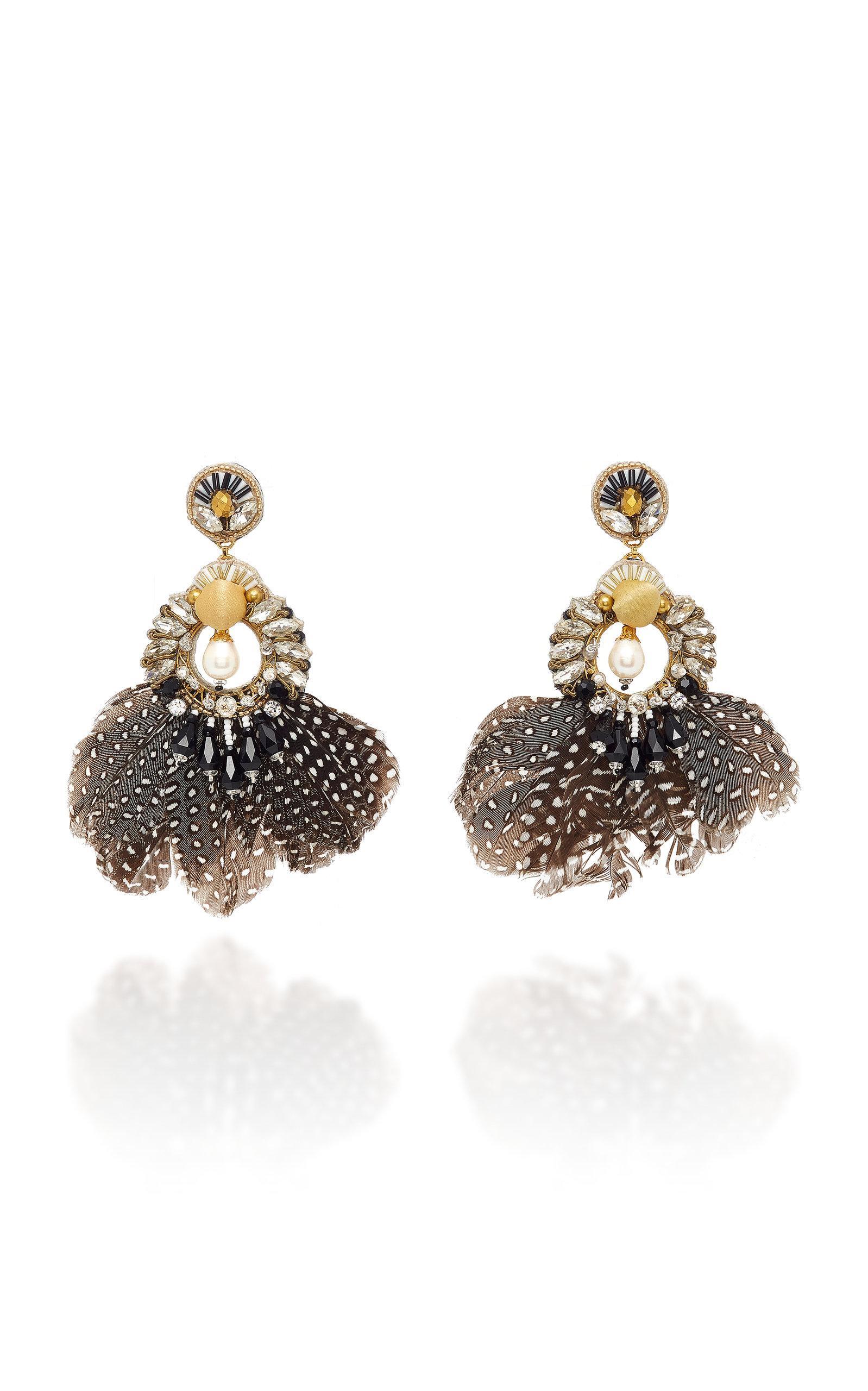 Ranjana Khan Carambola Pearl And Feather Gold-tone Drop Earrings In Black