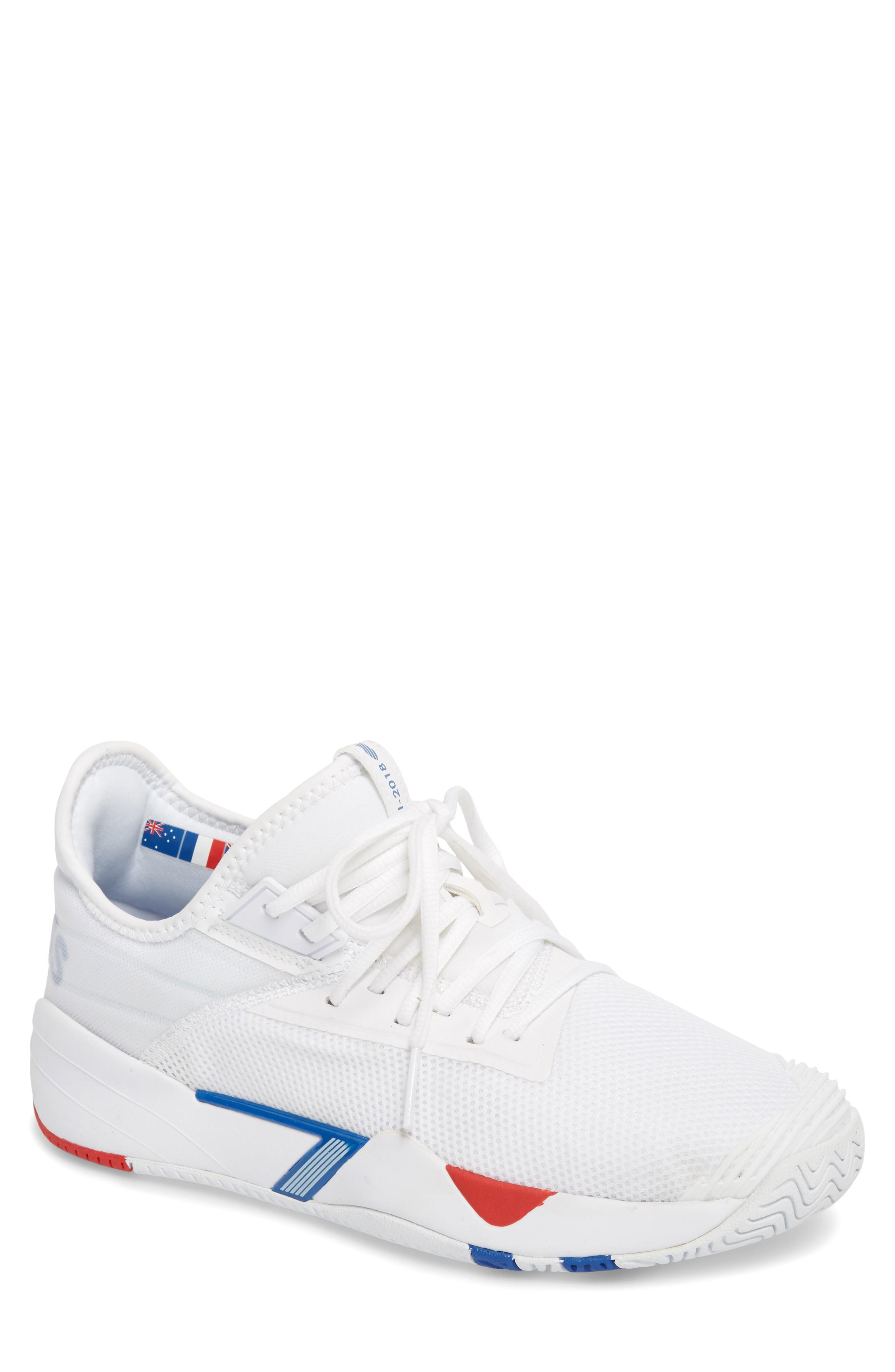 K-swiss Si-2018 Mid Top Sneaker In White/strong Blue/red