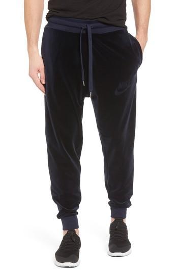 Nike Plush Velvet Jogger Pants In Obsidian/ Obsidian