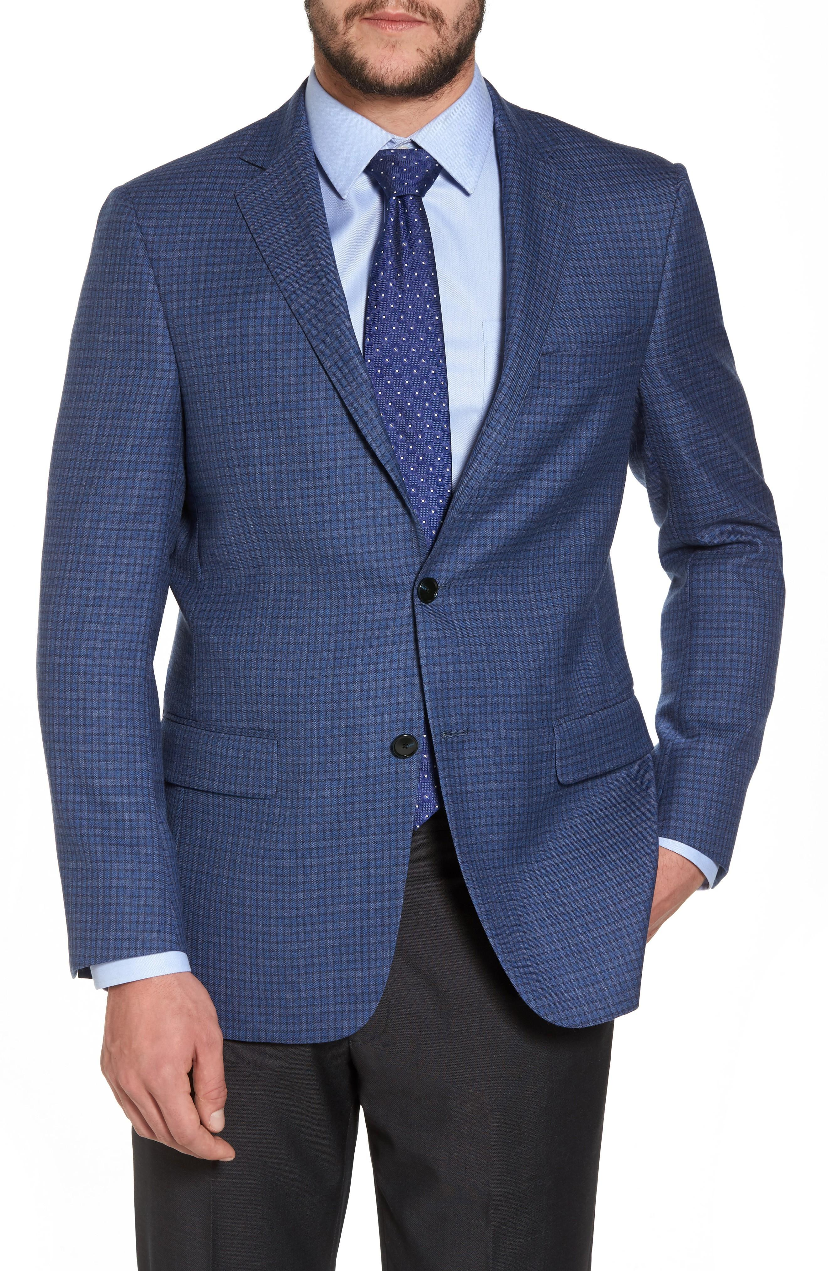 Hart Schaffner Marx Classic Fit Check Wool Sport Coat In Mid Blue