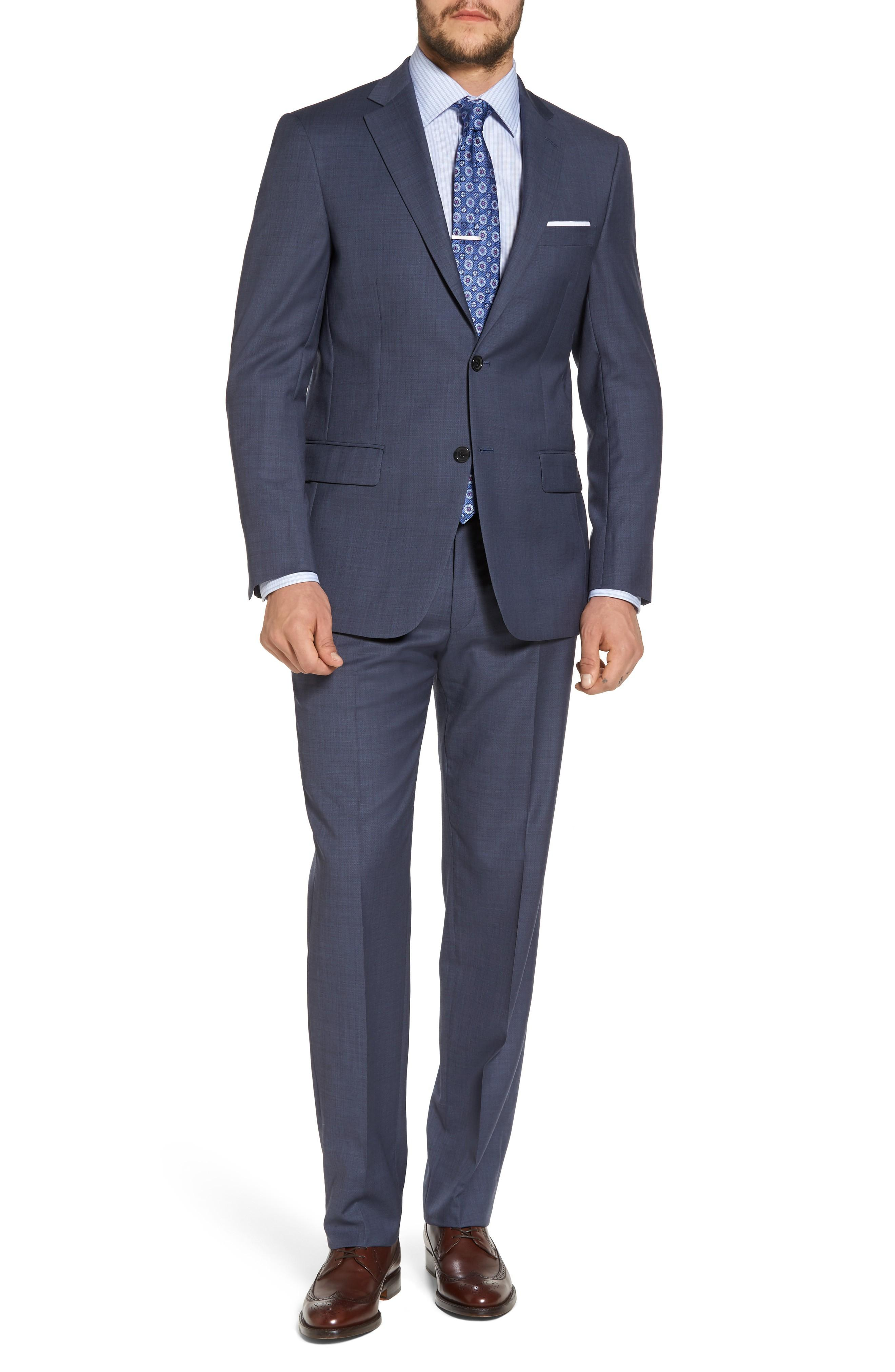 Hart Schaffner Marx New York Classic Fit Solid Wool Suit In Medium Blue