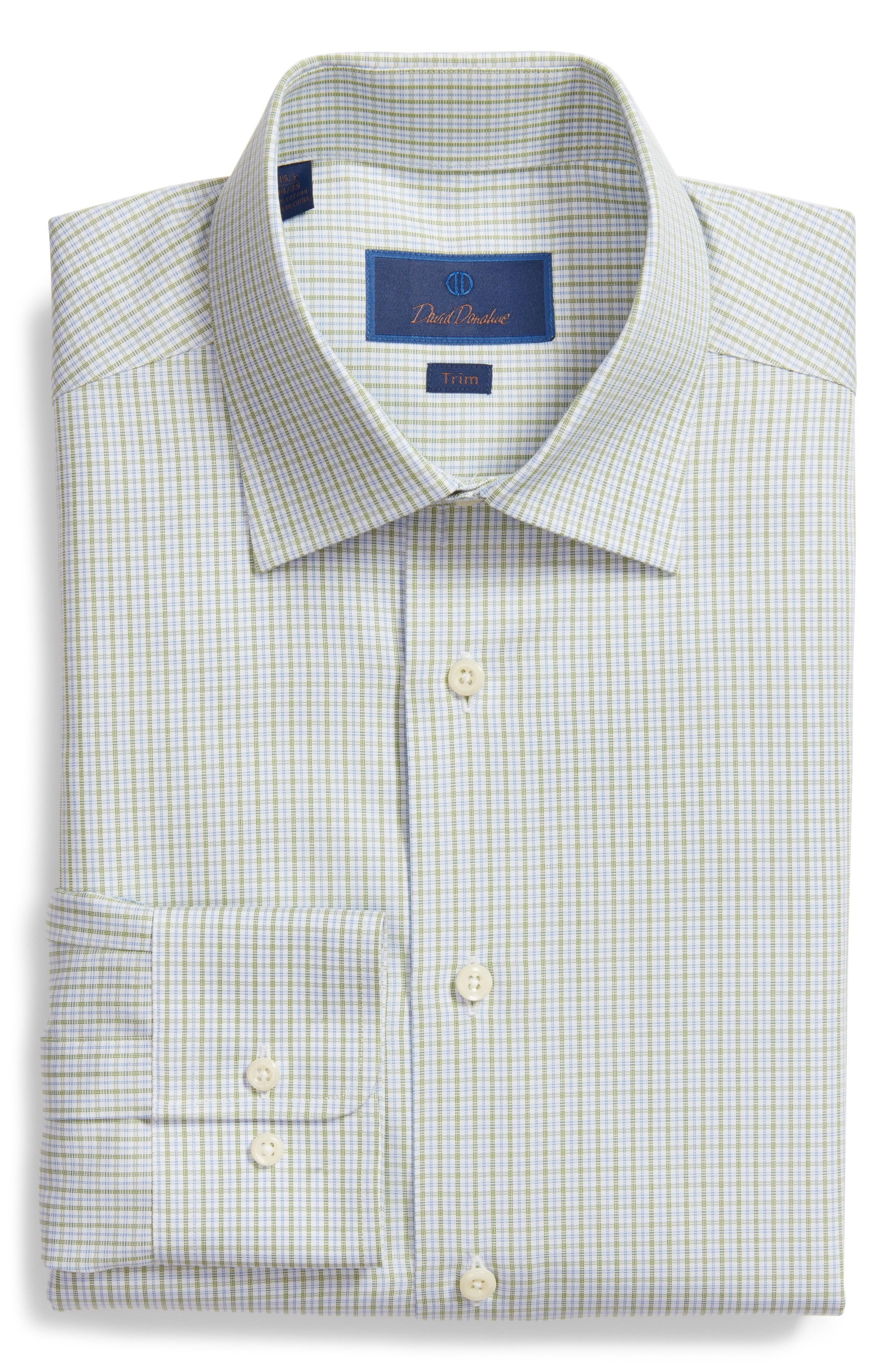 David Donahue Trim Fit Check Dress Shirt In Grass