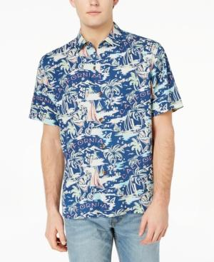 Tommy Bahama Men's Destination California Graphic-print Silk Shirt In Bering Blue