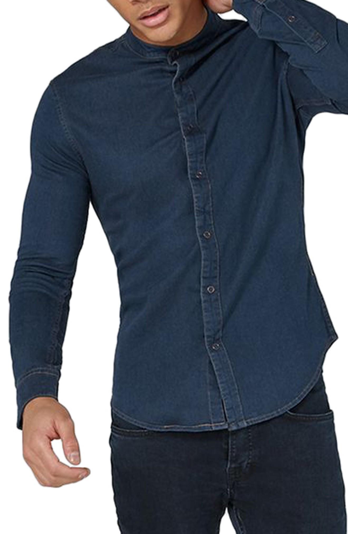 Topman Band Collar Denim Shirt In Blue