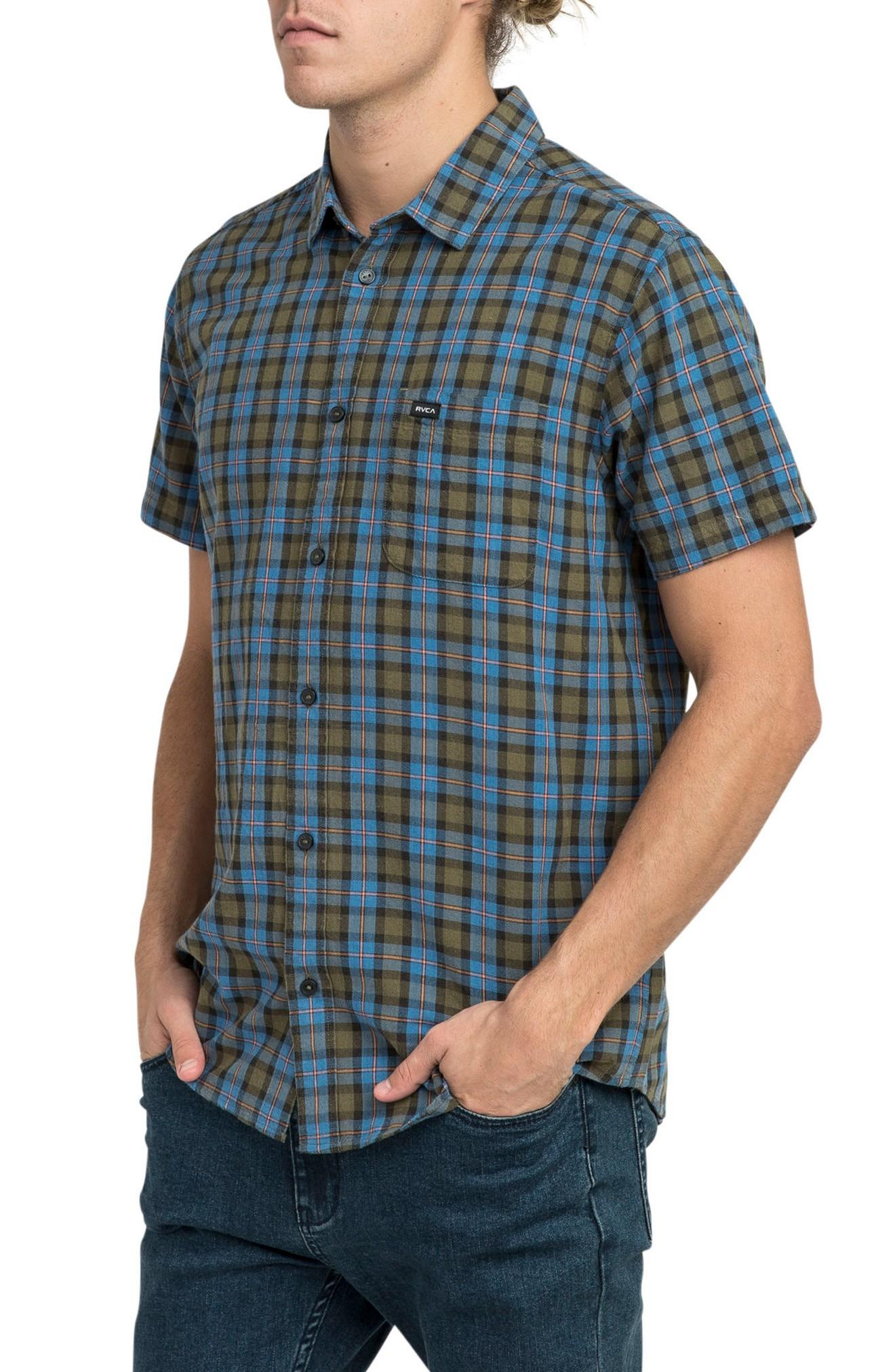 Rvca That'll Do Plaid Shirt In Burnt Olive