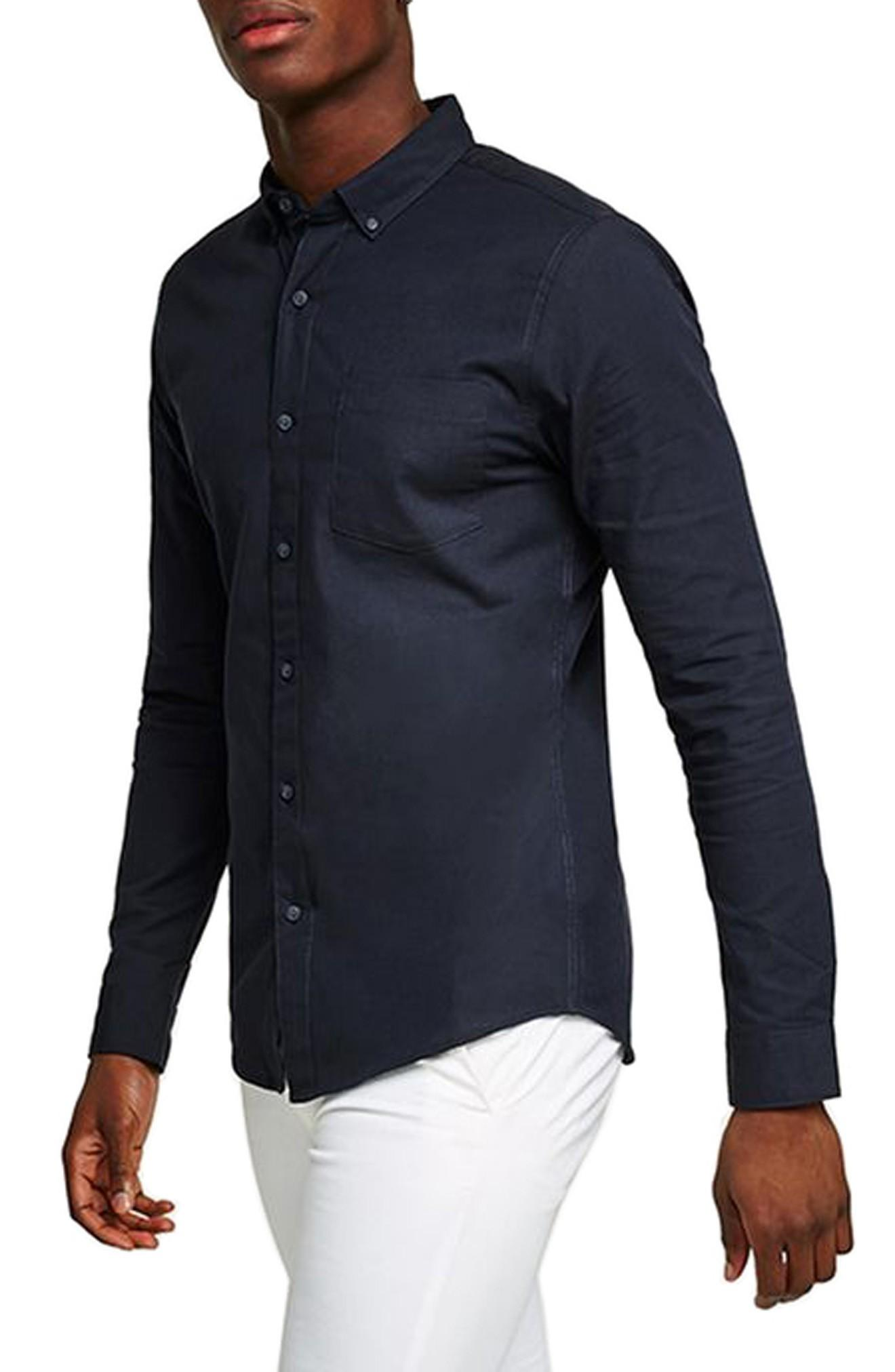 Topman Oxford Shirt In Navy Blue
