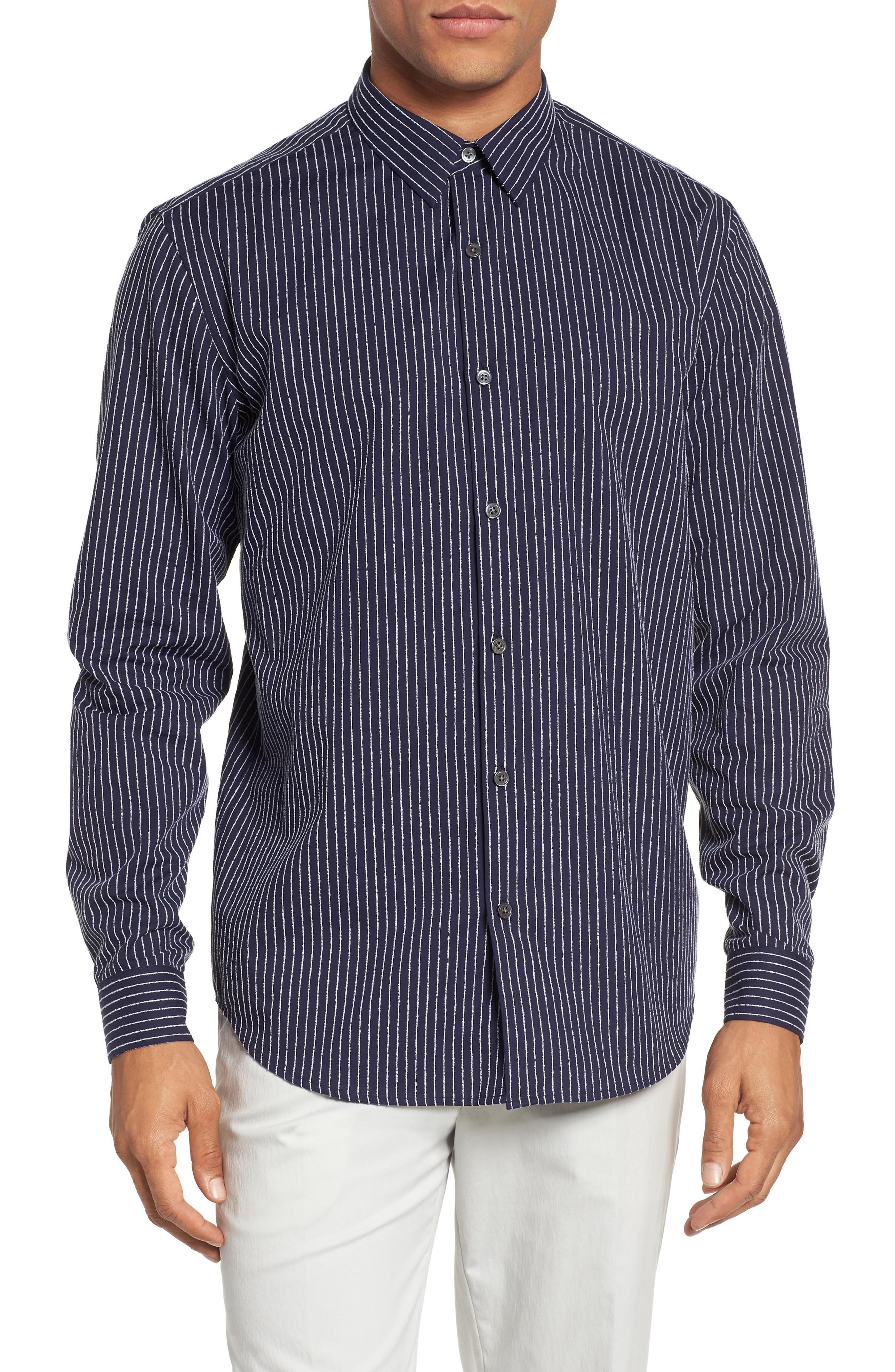 Theory Irving Chenille Stripe Sport Shirt In Eclipse Stripe