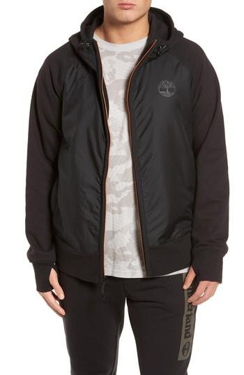 Timberland Mixed Media Hooded Jacket In Black
