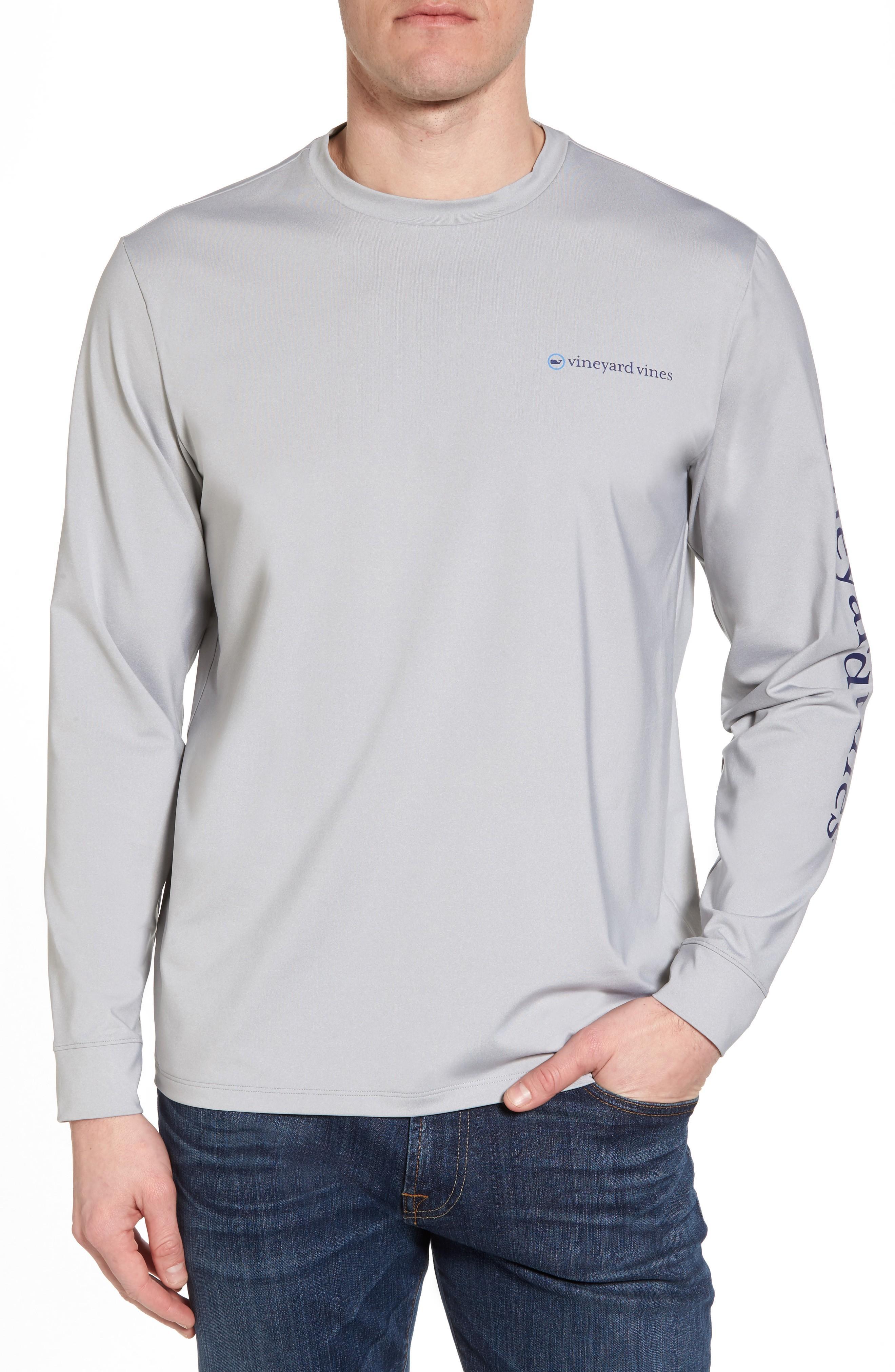Vineyard Vines Heathered Long Sleeve Performance T-shirt In Gray Heather