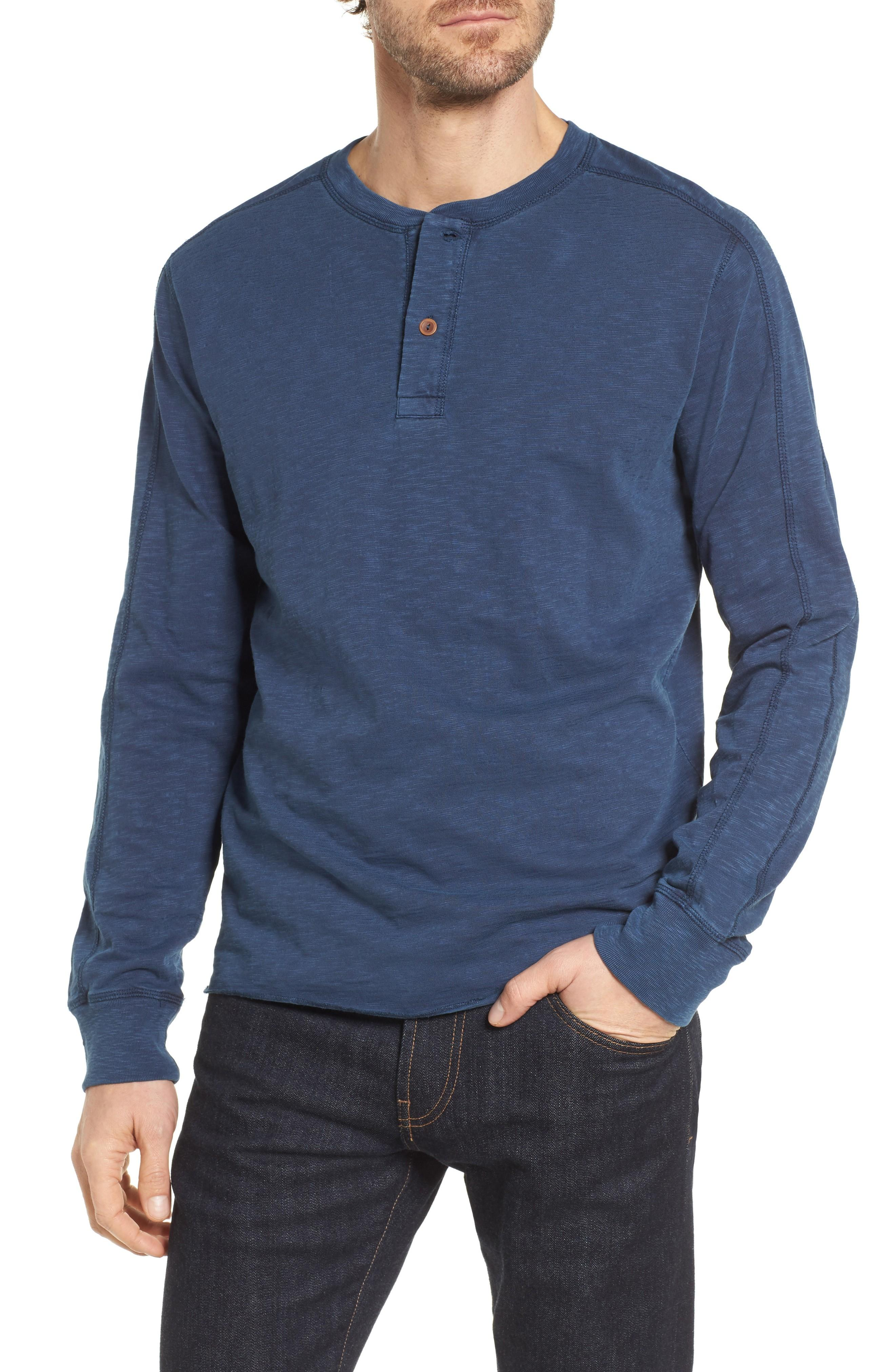 Grayers Cooper Slub Long Sleeve Henley In Insignia Blue