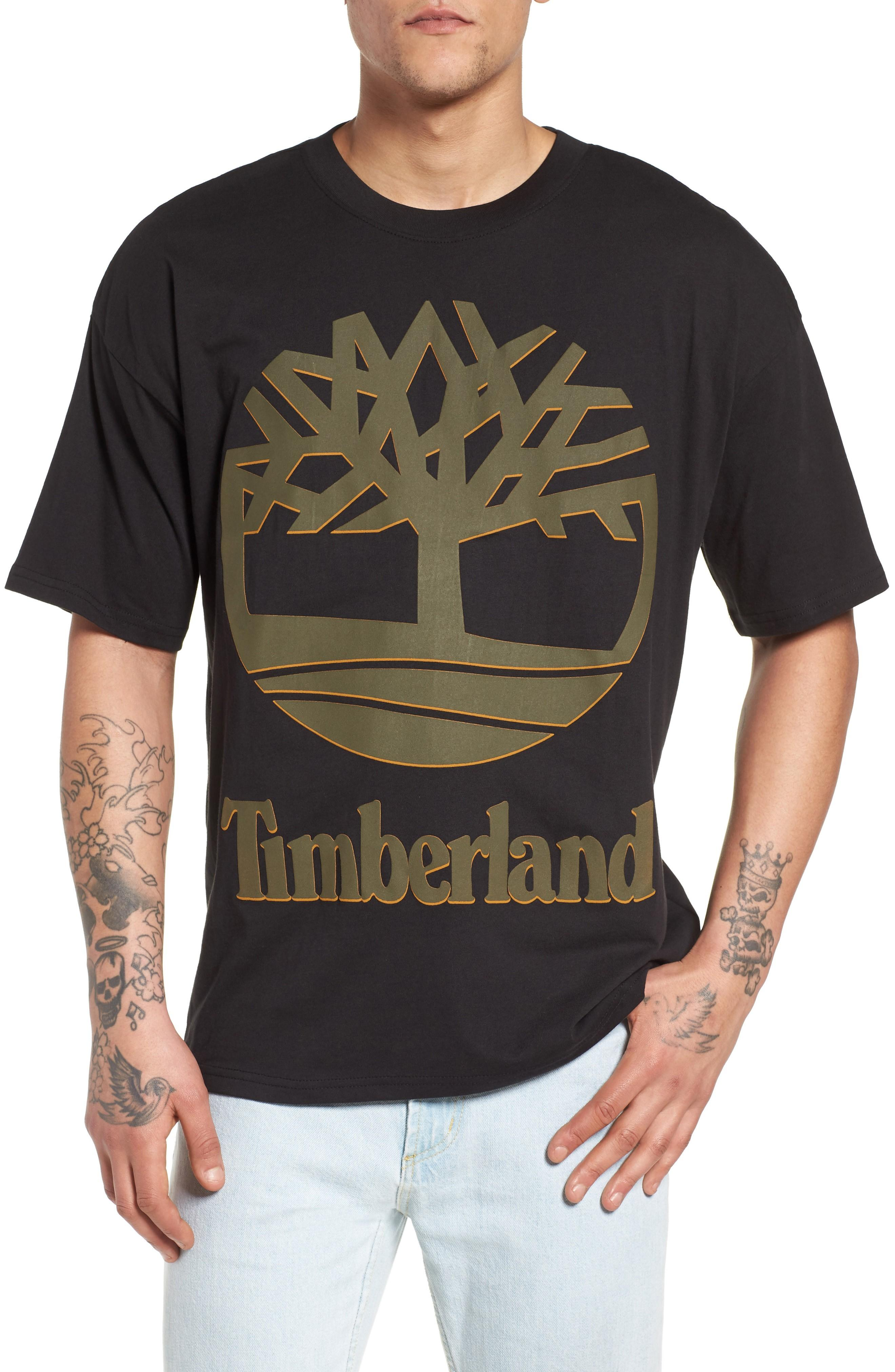 Timberland Logo T-shirt In Black/ Forest