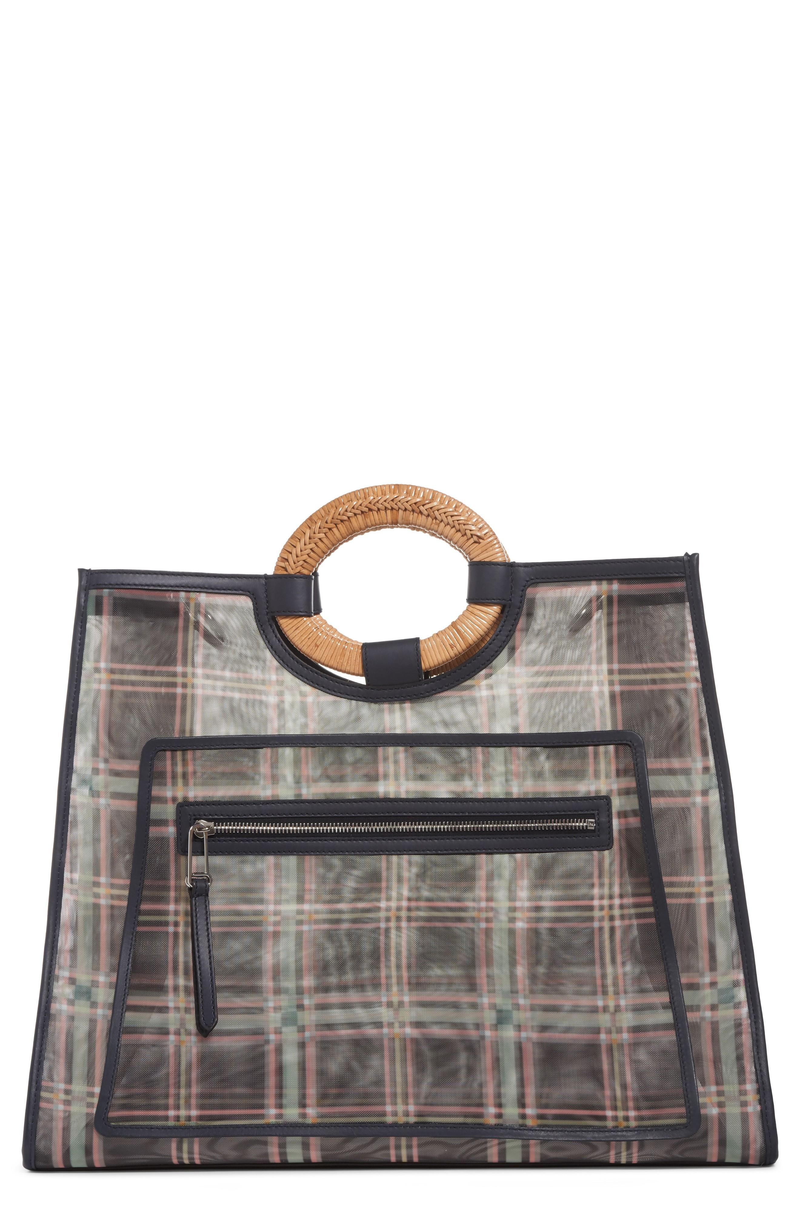 Fendi Runaway Plaid Mesh Shopper - Black In Nero/ Blue Notte