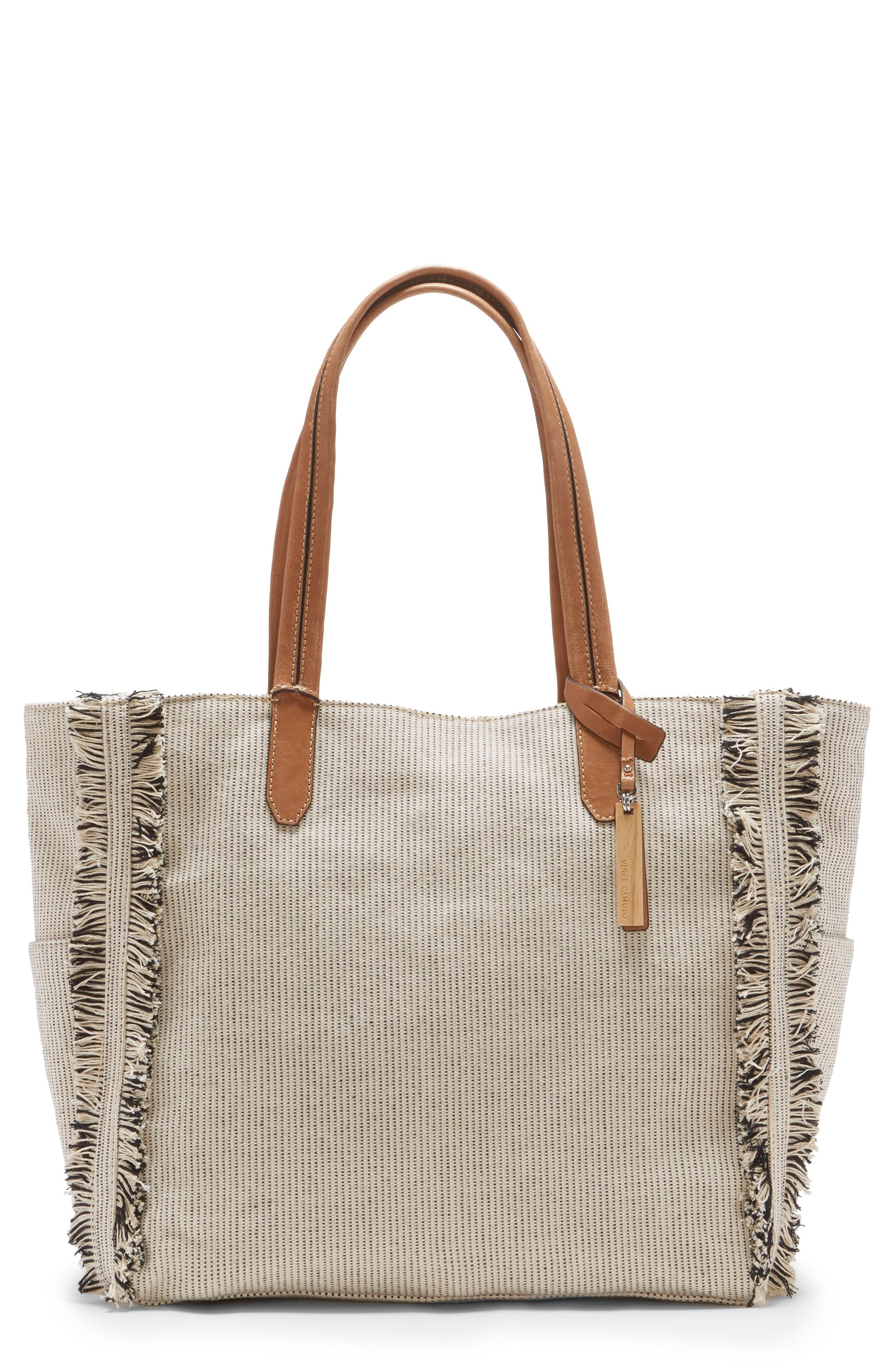 Vince Camuto Iona Canvas Tote - Beige In Beige/ White