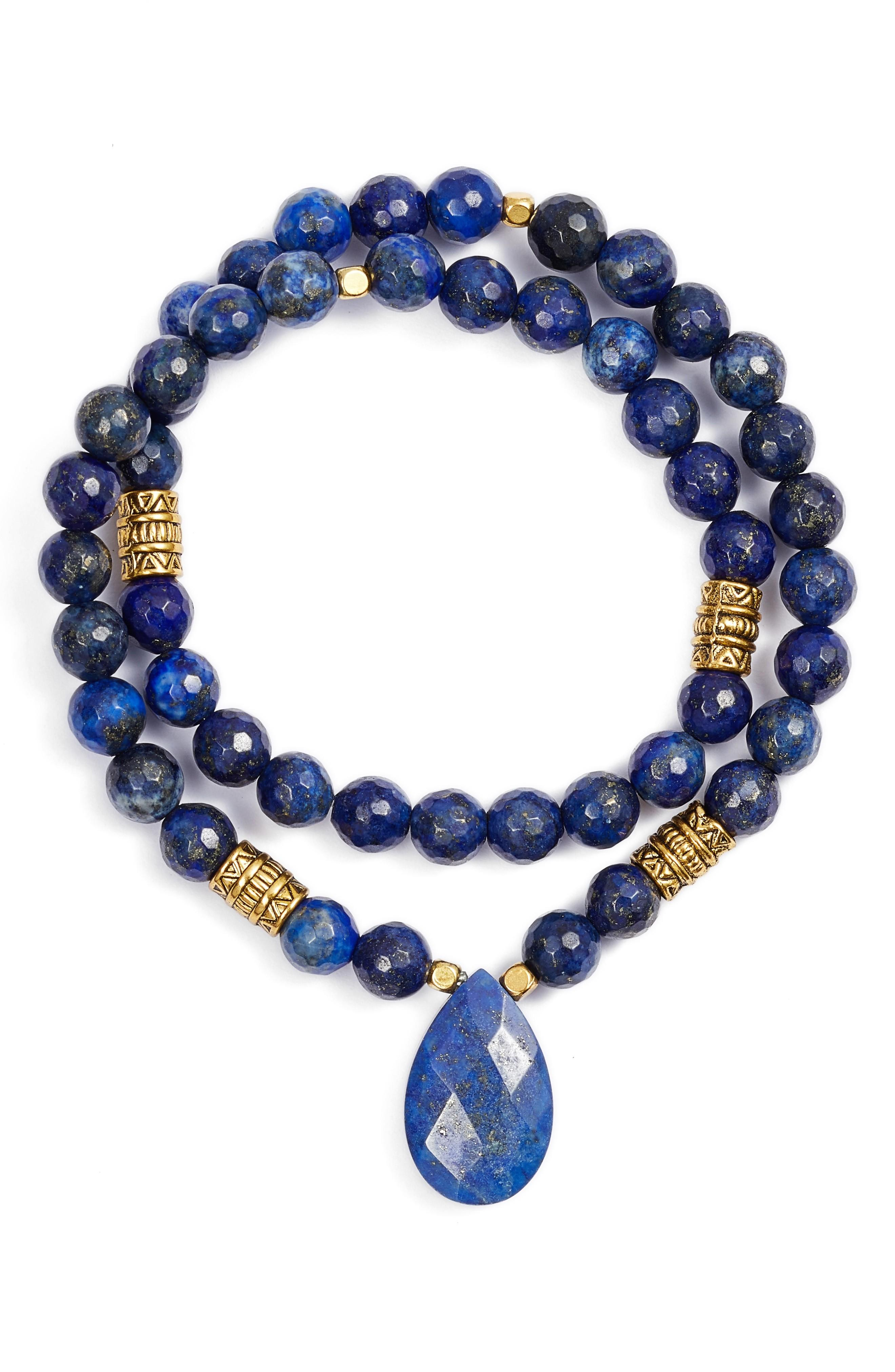 Elise M. Inca Double Stretch Stone Bracelet In Blue Lapis
