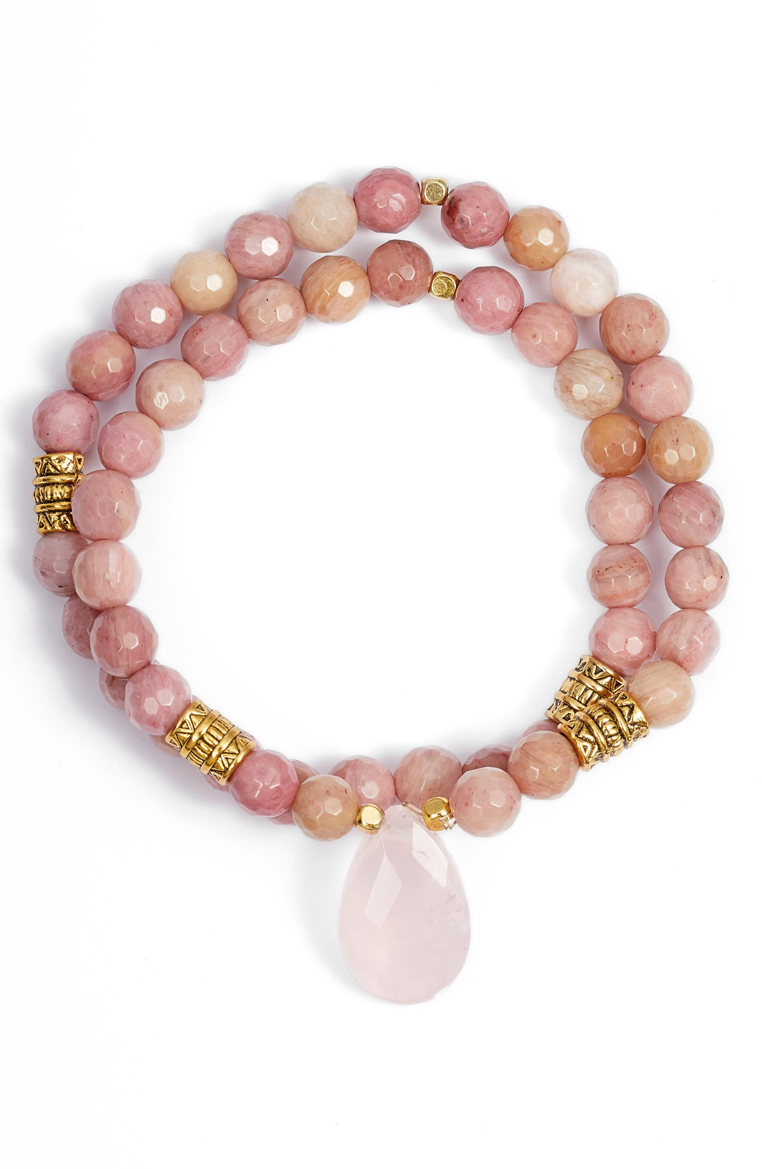 Elise M. Inca Double Stretch Stone Bracelet In Pink Agate