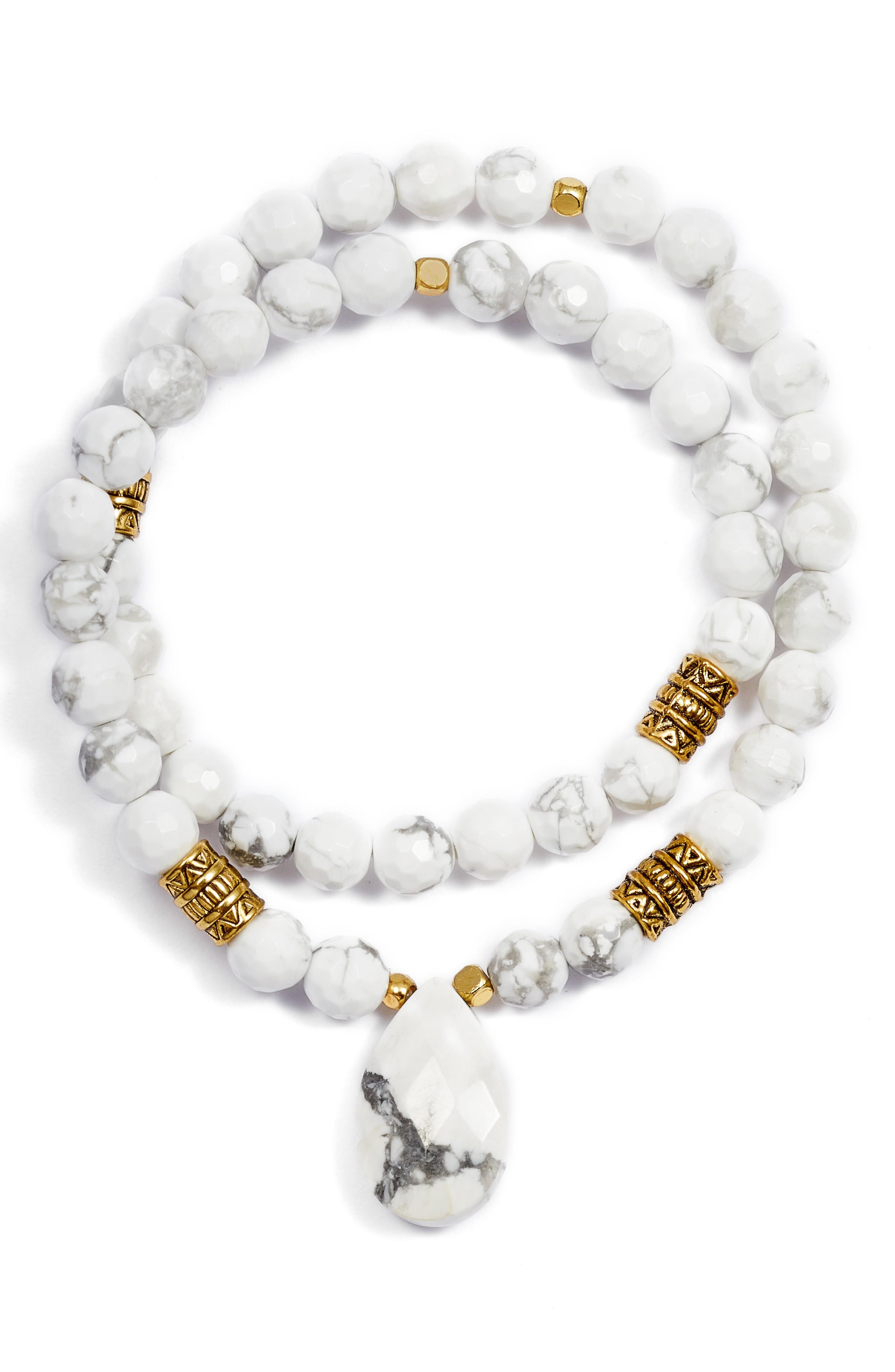 Elise M. Inca Double Stretch Stone Bracelet In White Agate