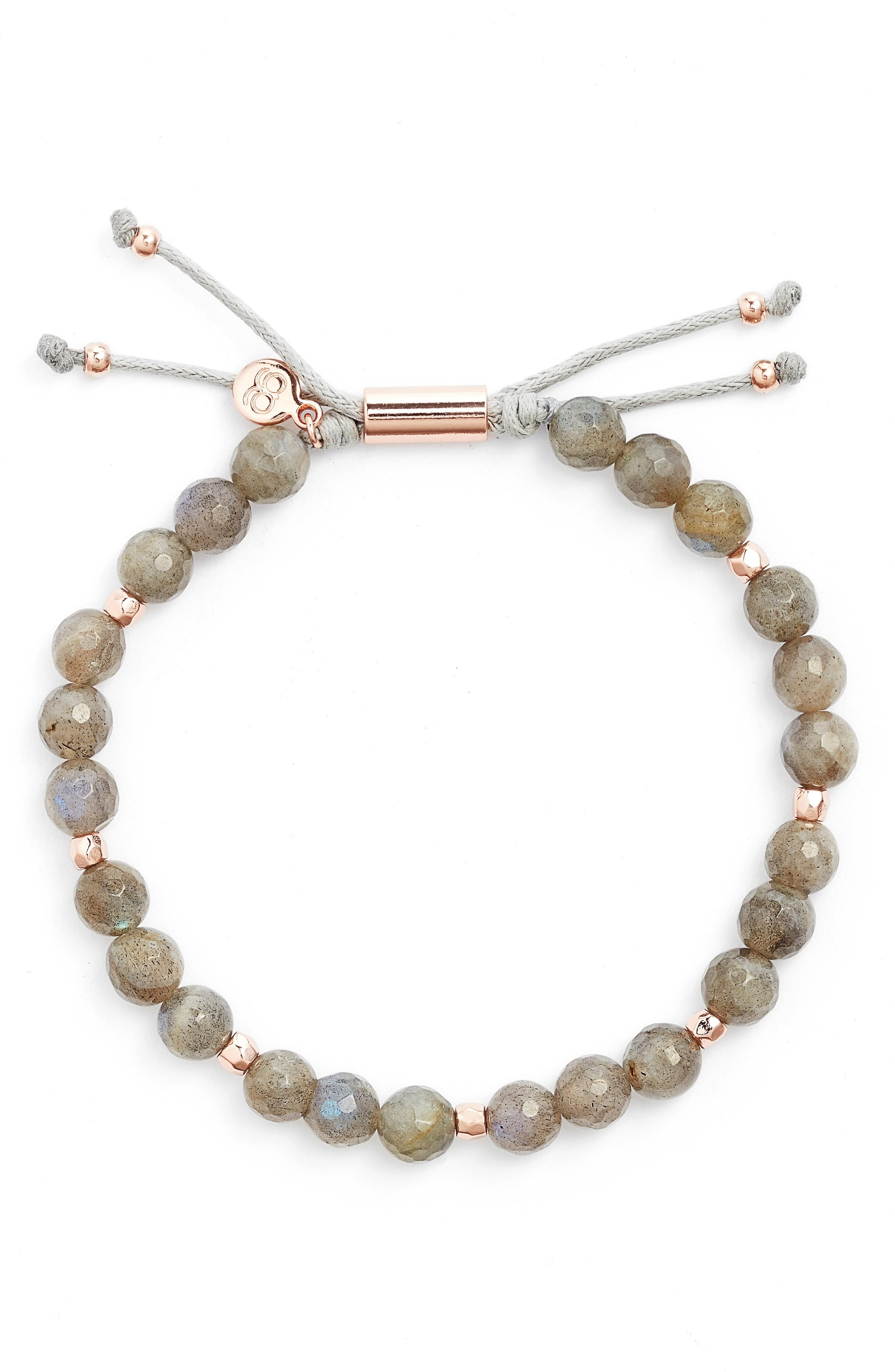 Gorjana Power Bead Adjustable Bracelet In Labradorite/ Rose Gold