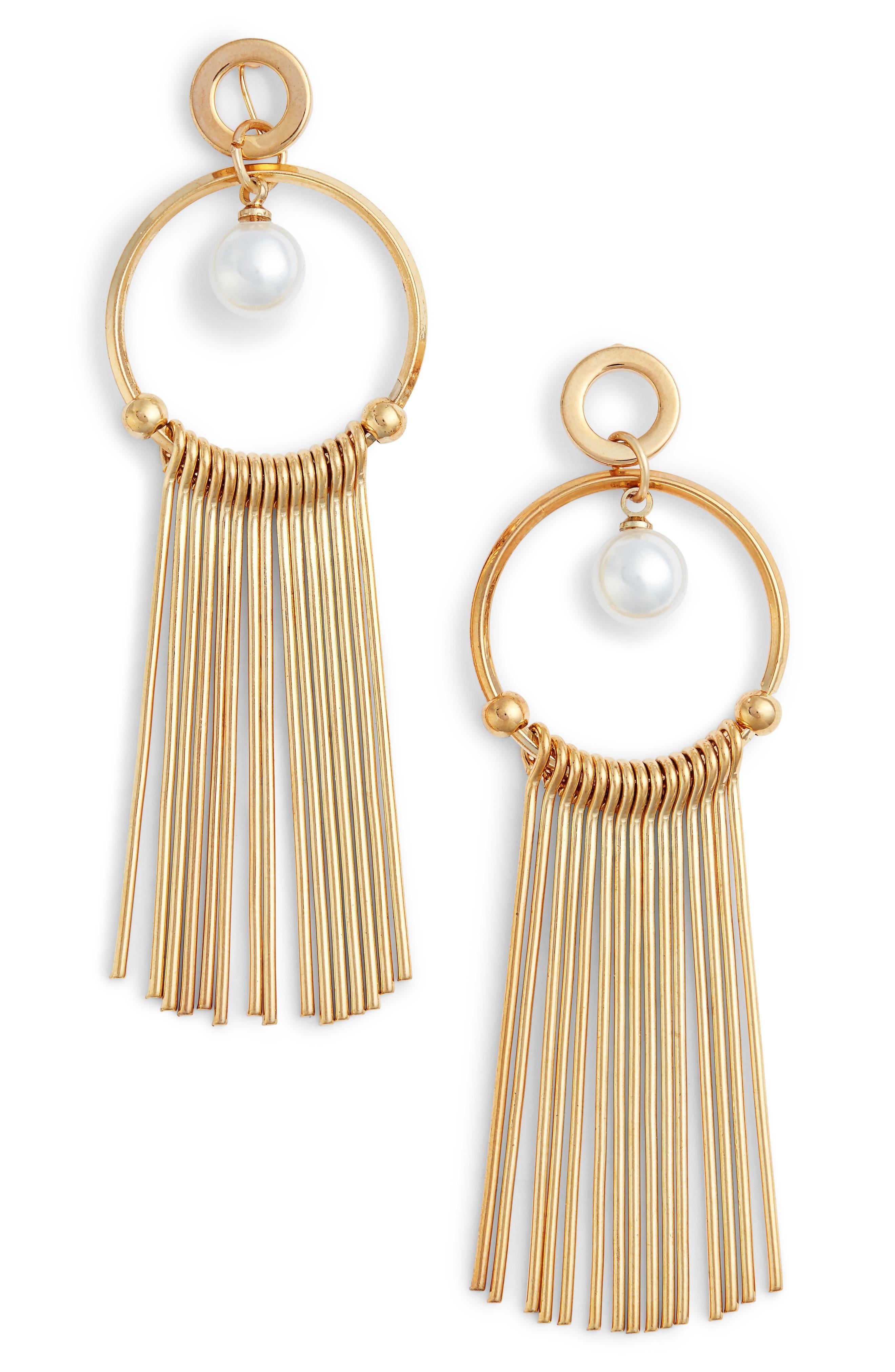 Elise M. Lilia Spike & Crystal Hoop Earrings In Pearl