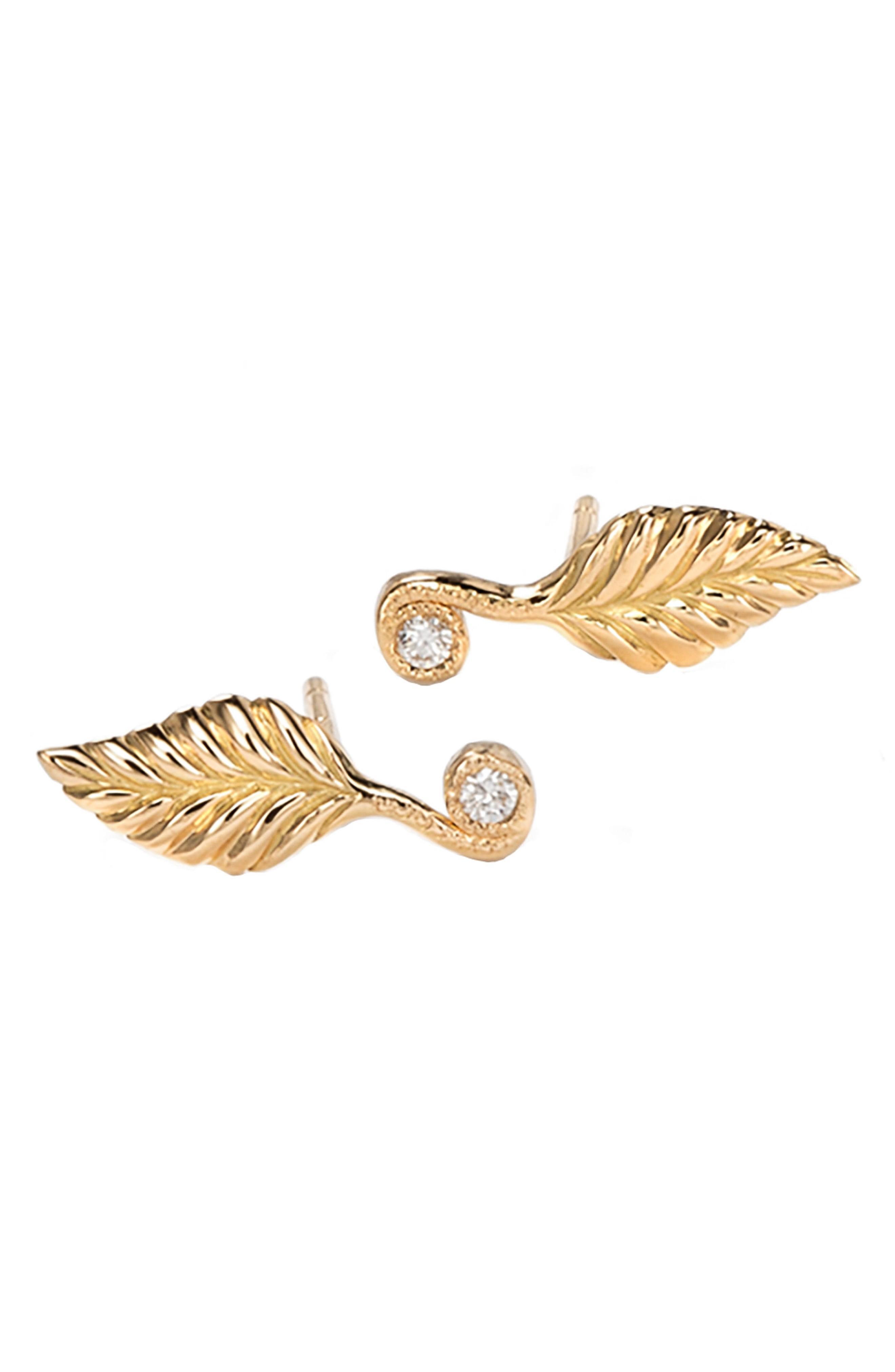 Nora Kogan Diamond Rose Leaf Stud Earrlings In Yellow Gold