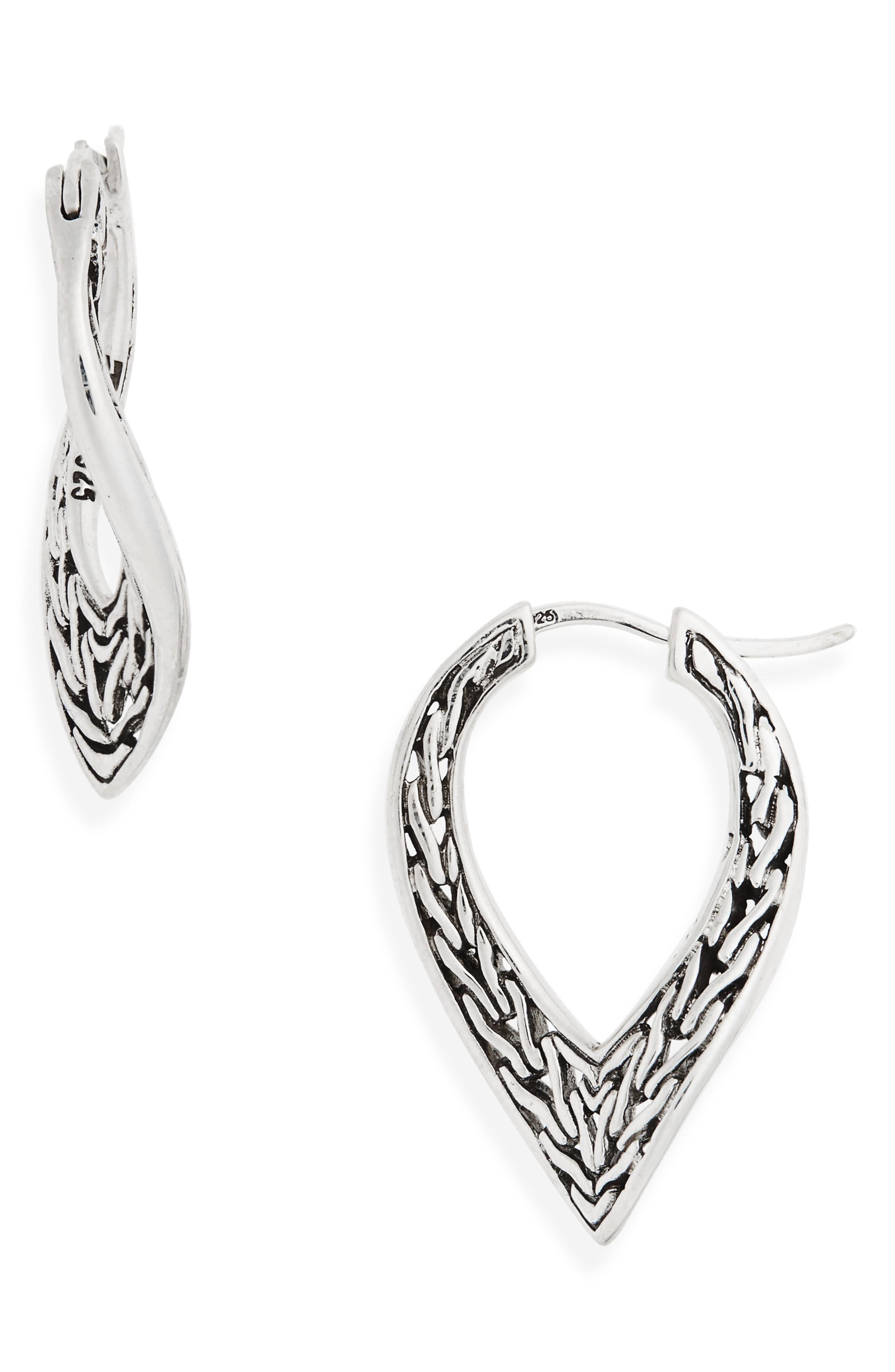 John Hardy Classic Chain Small Hoop Earrings In Silver