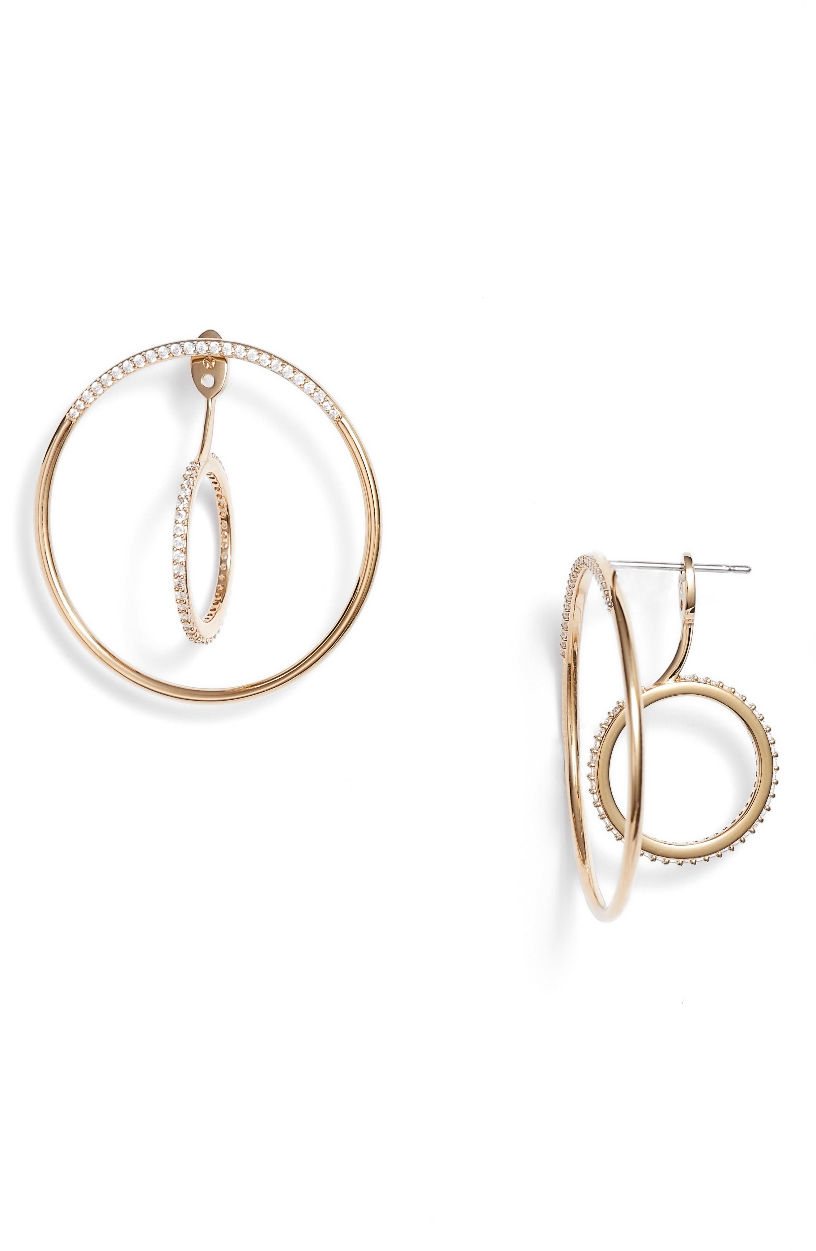 Nadri Intersecting Hoop Ear Jackets In Gold/ Clear