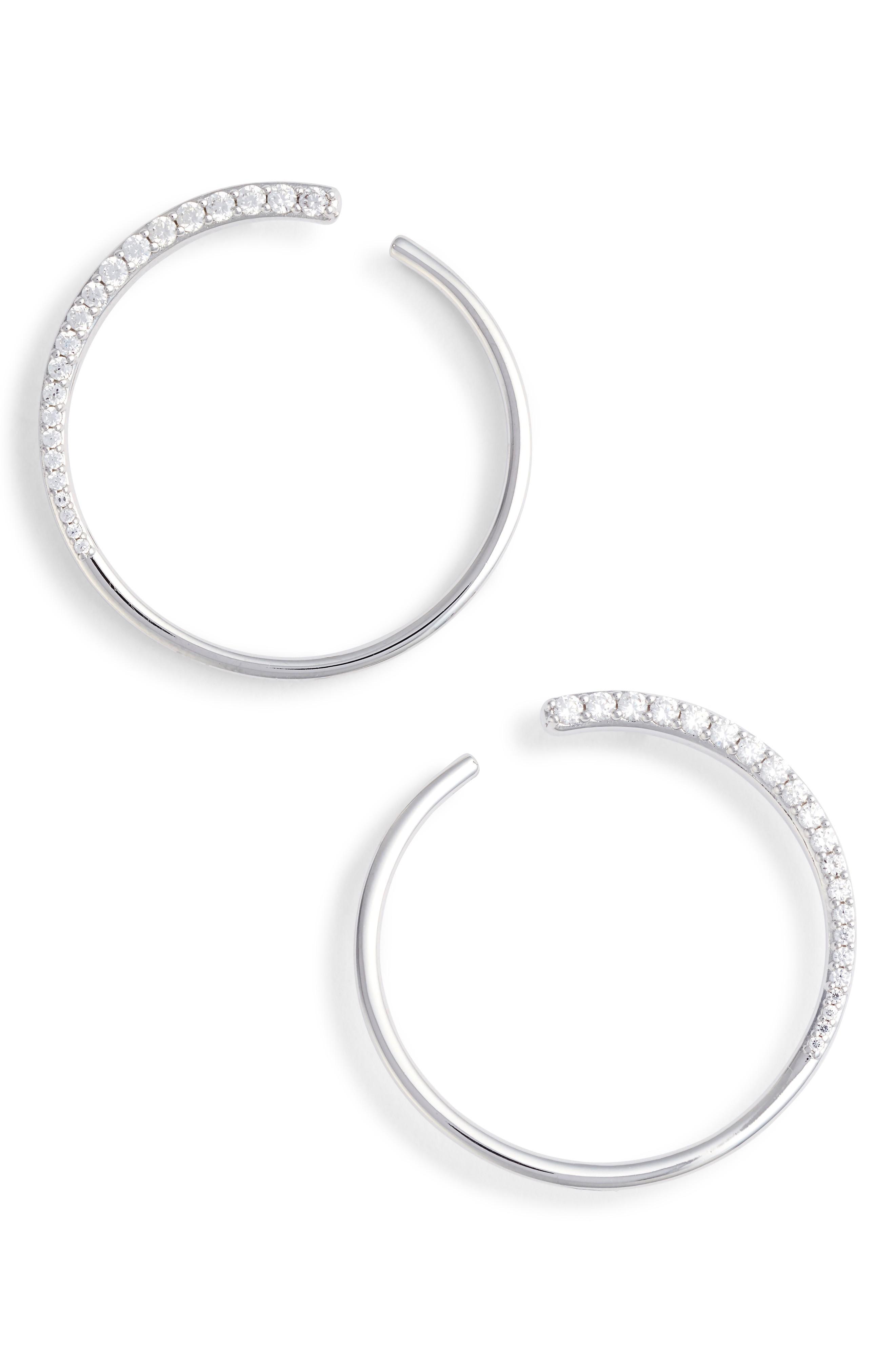 Nadri Half Sparkle Hoops In Silver