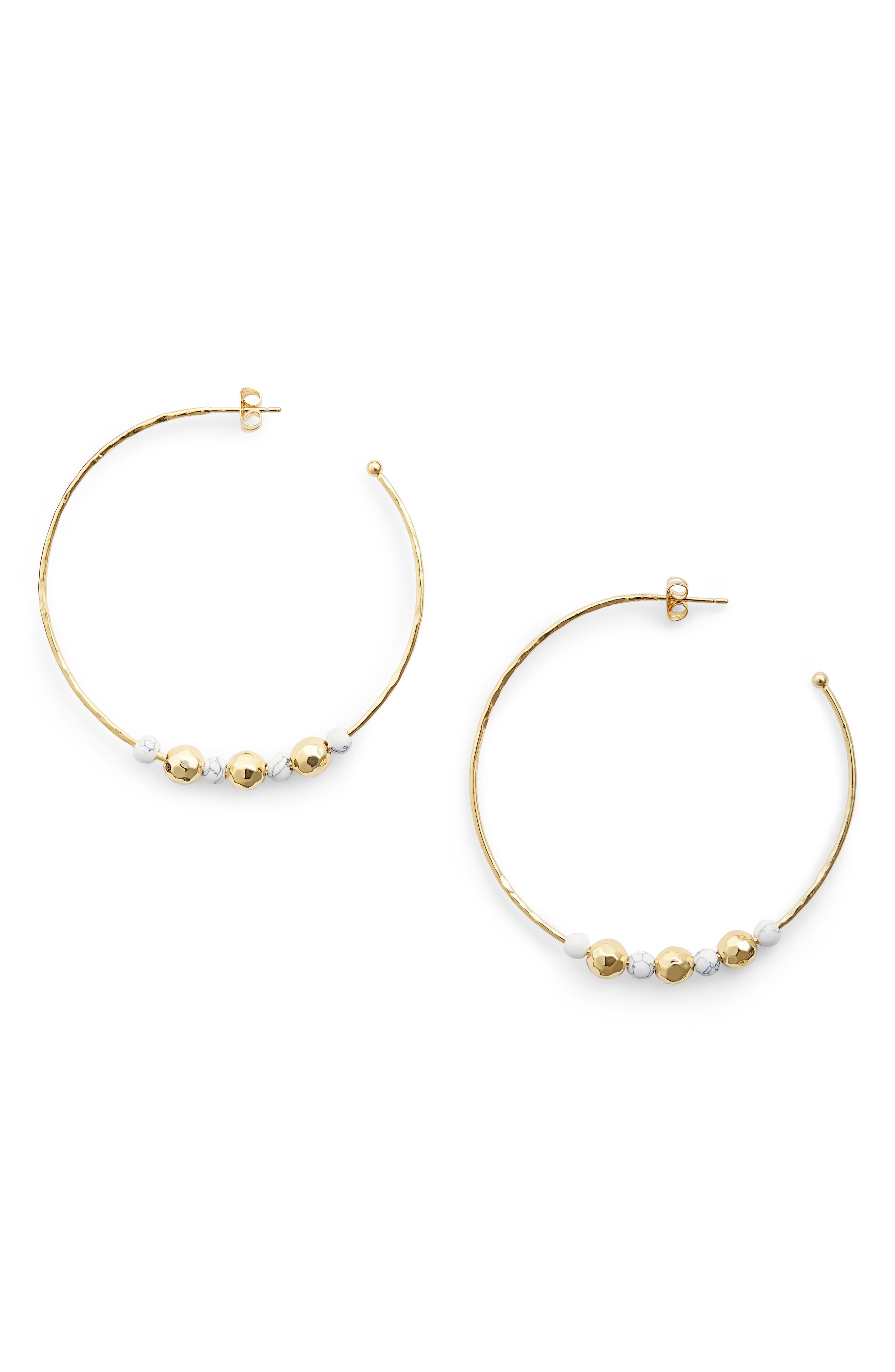Gorjana Gypset Hoop Earrings In Howlite/ Gold