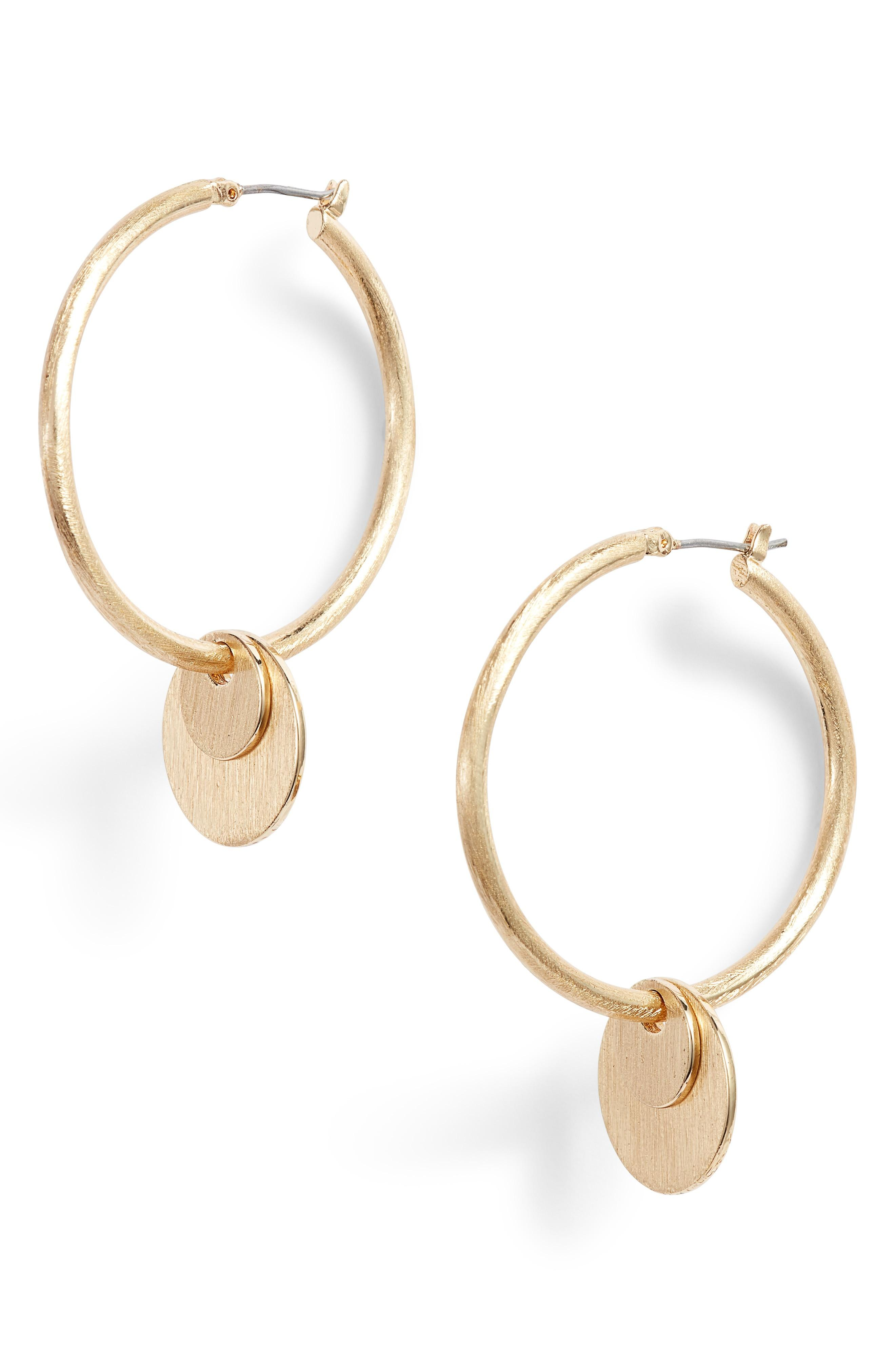 Rebecca Minkoff Medallion Hoop Earrings In Gold