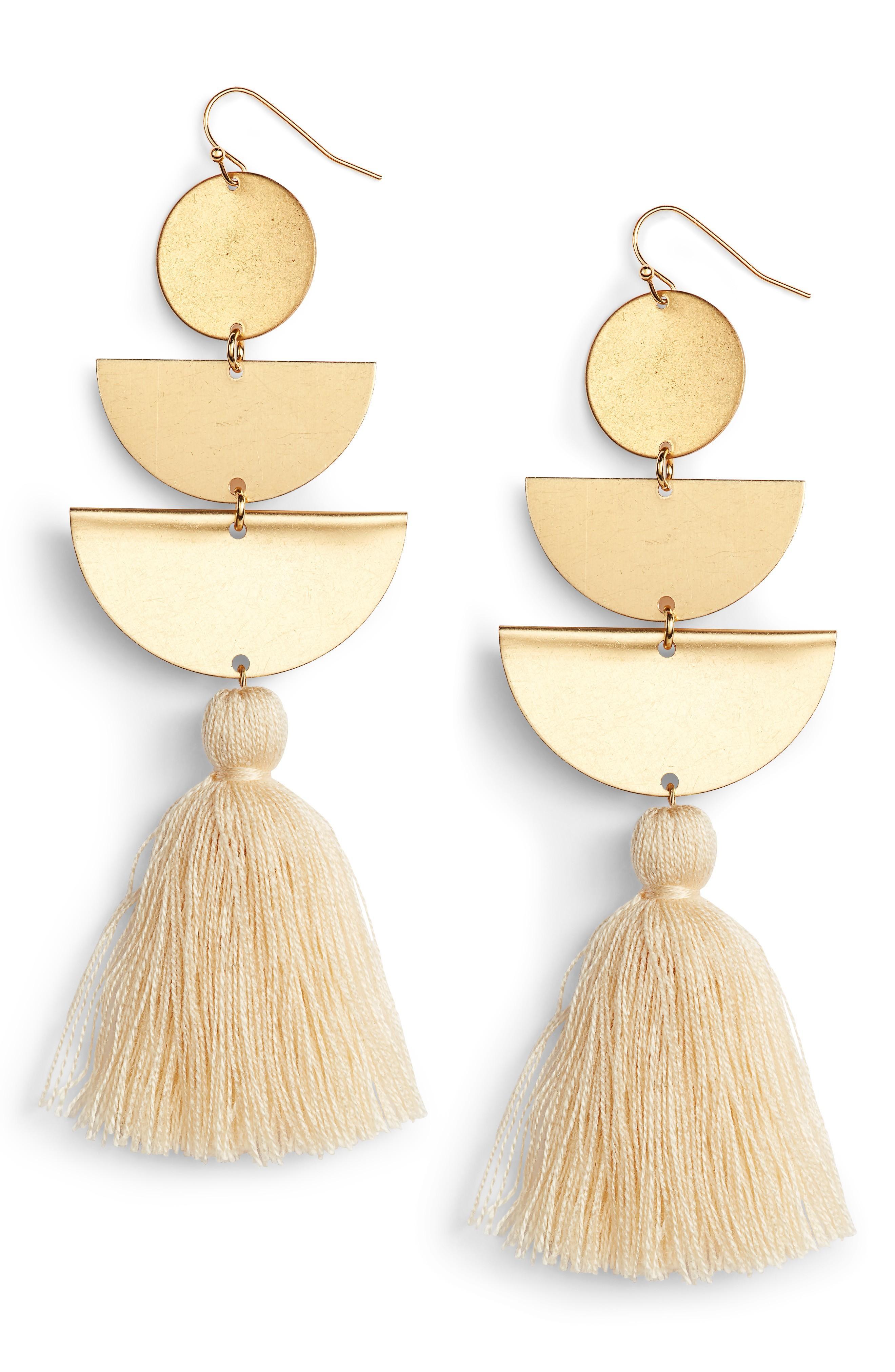 Sandy Hyun Half Moon Tassel Drop Earrings In Ivory