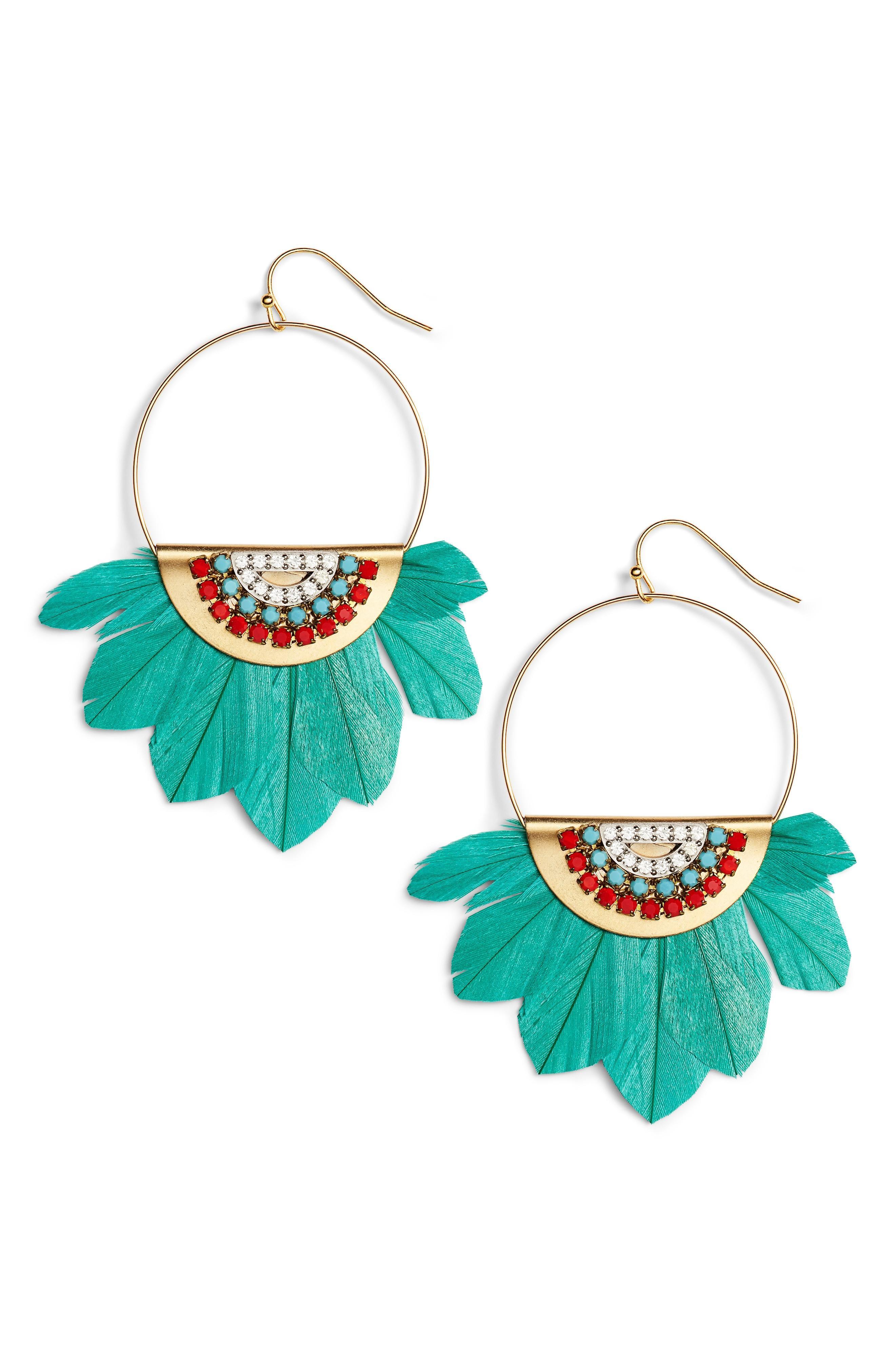 Sandy Hyun Tulum Feather Hoop Earrings In Turquoise