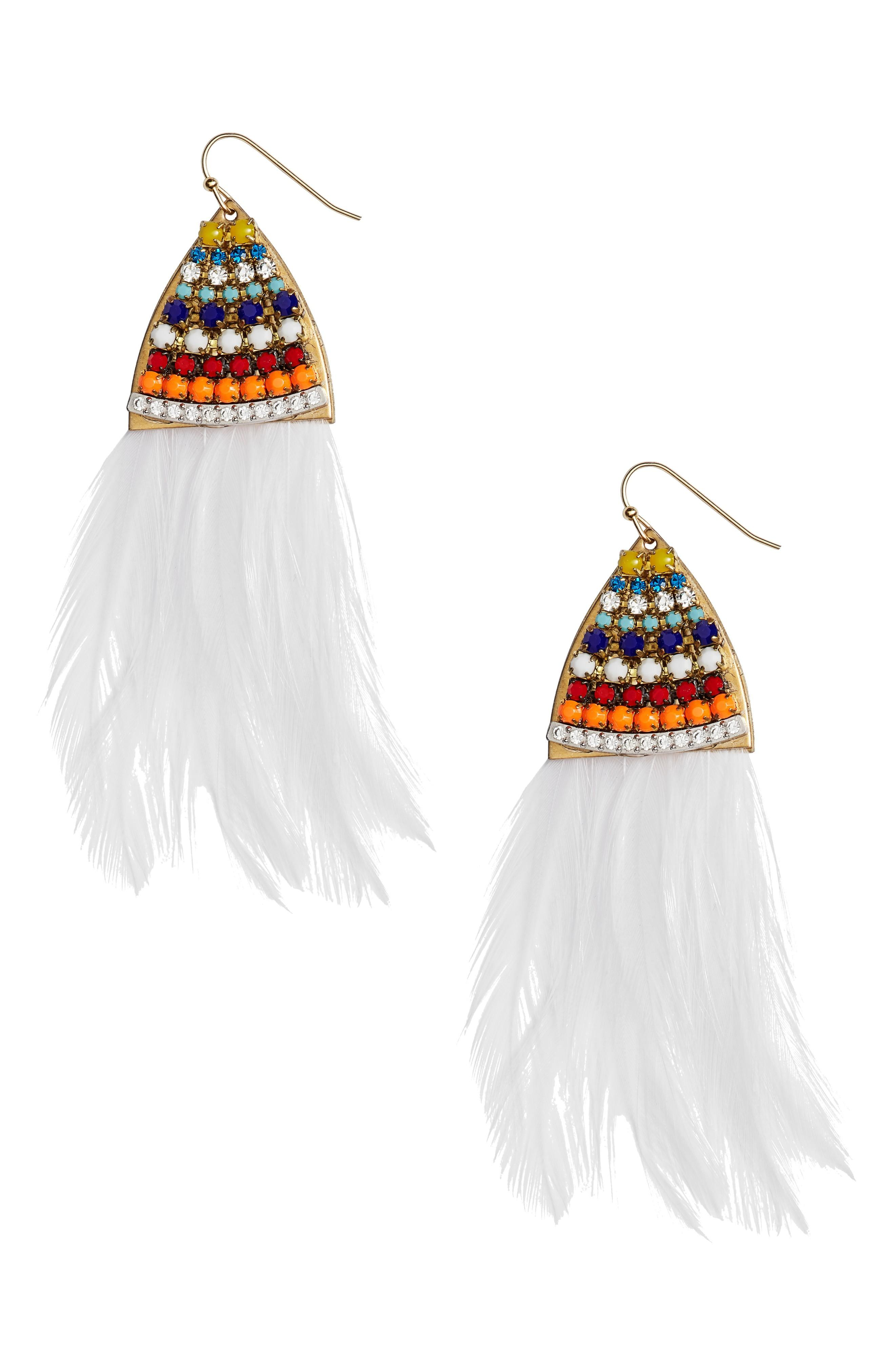 Sandy Hyun Paradise Feather Drop Earrings In White