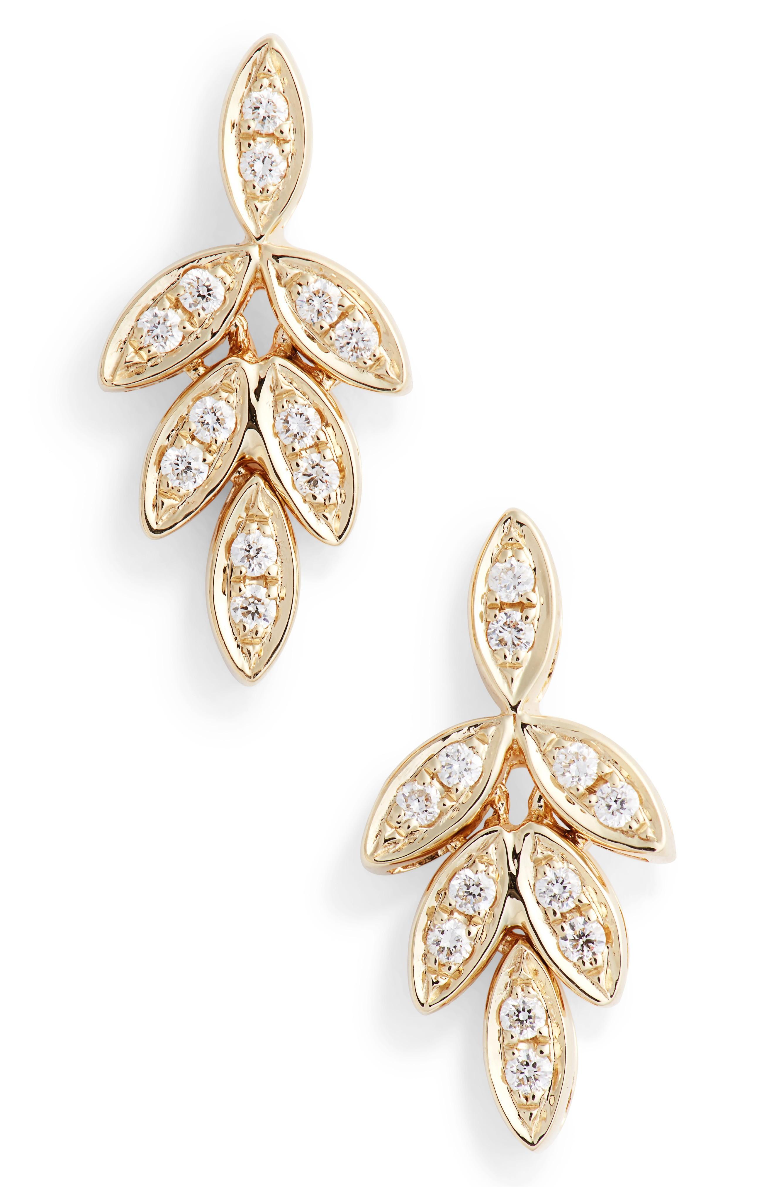 Dana Rebecca Designs Dana Rebecca Lori Paige Diamond Leaf Stud Earrings In Yellow Gold