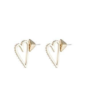 Alexis Bittar Crystal Embellished Heart Stud Earrings In Gold