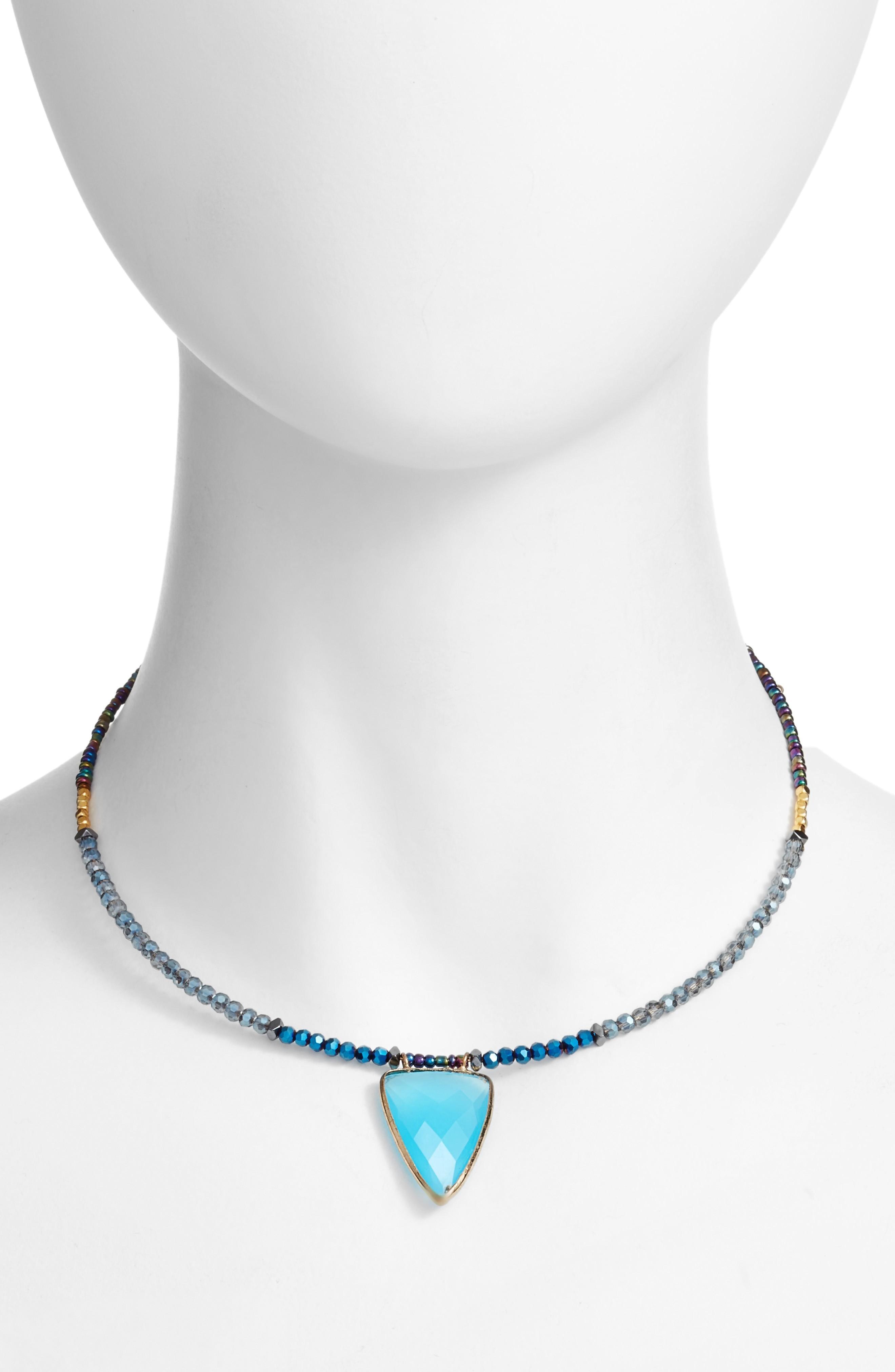 Elise M. Sarita Beaded Choker In Turquoise
