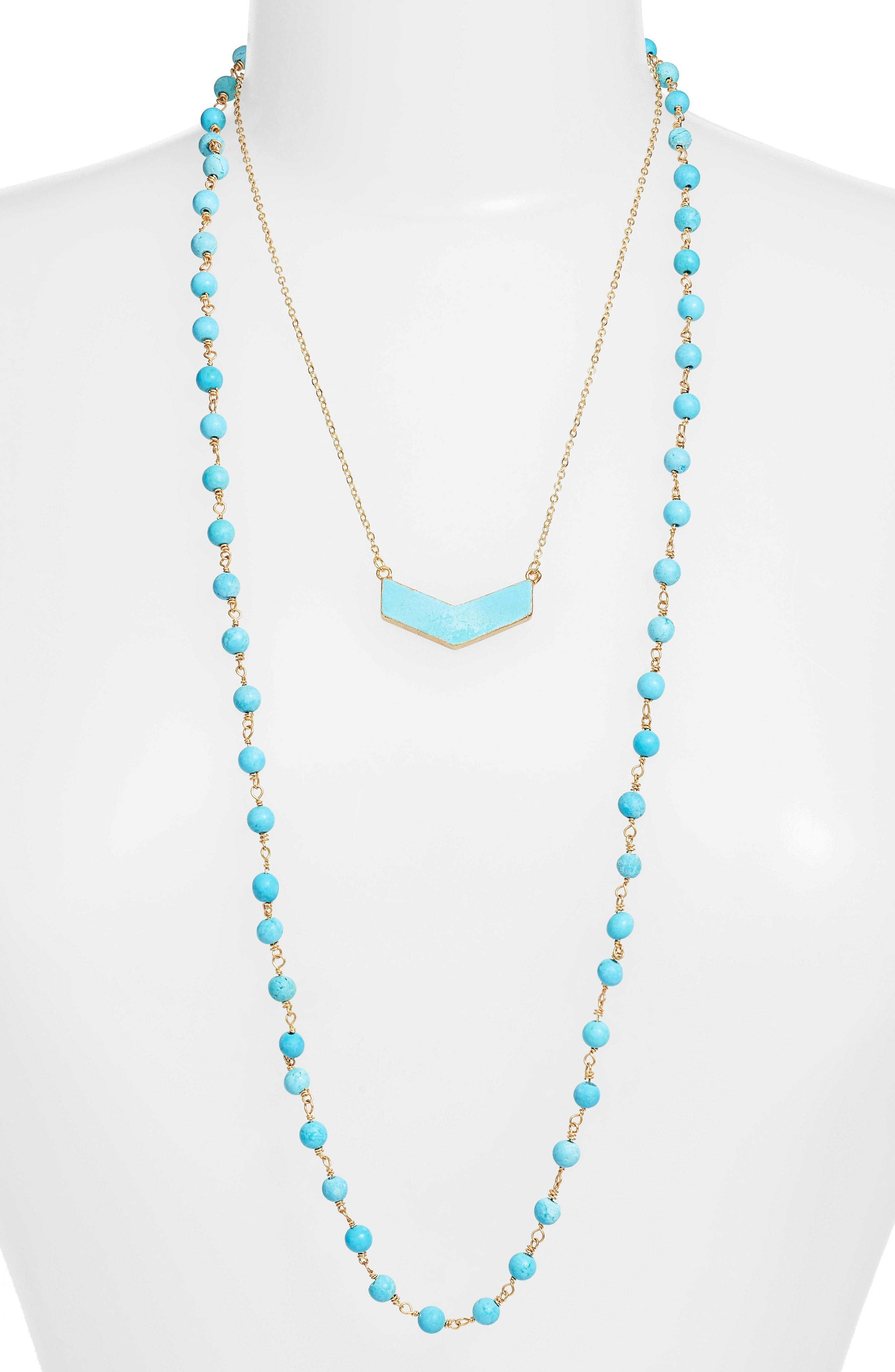 Elise M. Julia Double Strand Necklace In Turquoise/ Turquoise