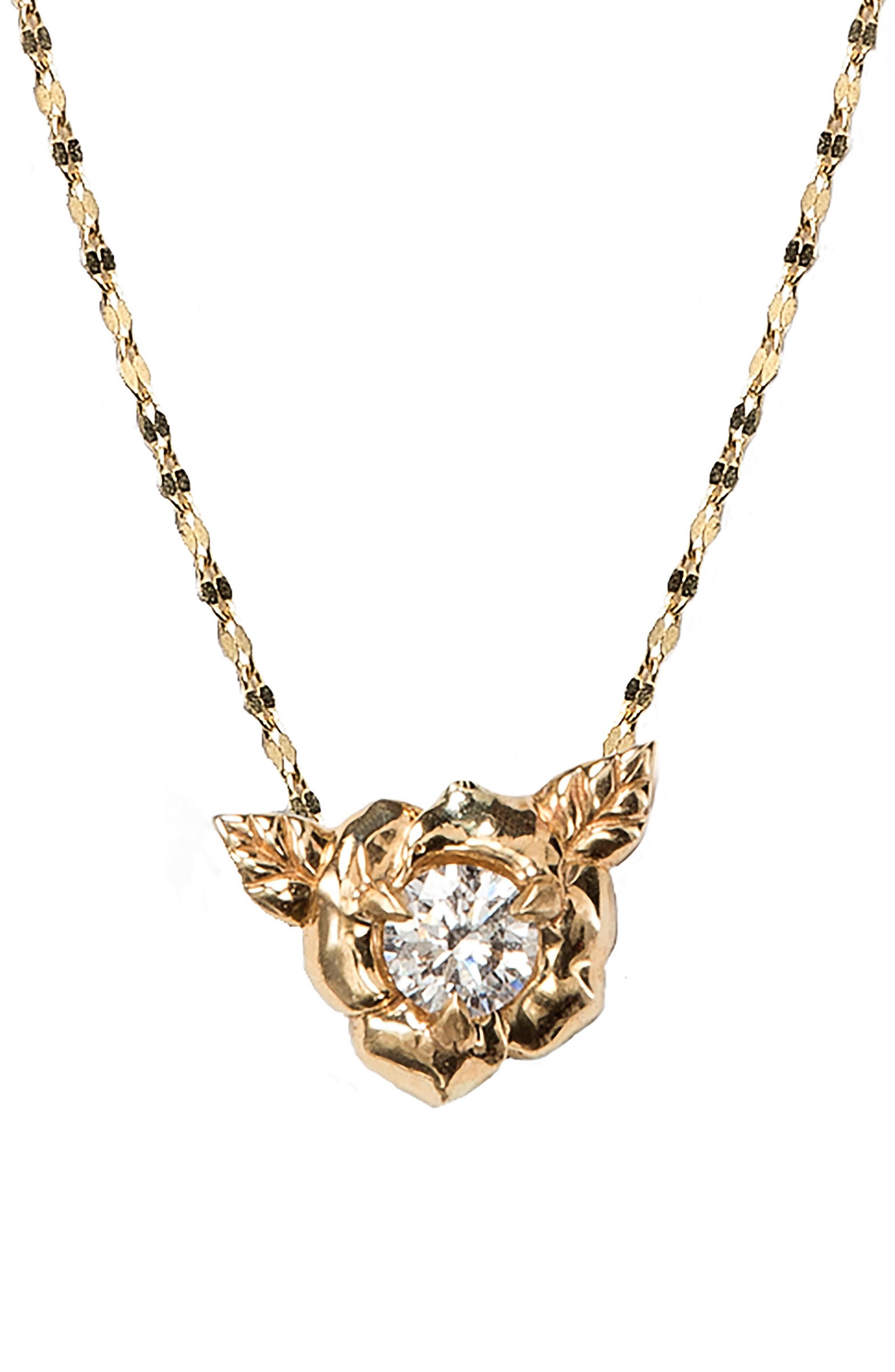 Nora Kogan Little Rosebud Pendant Necklace In Yellow Gold