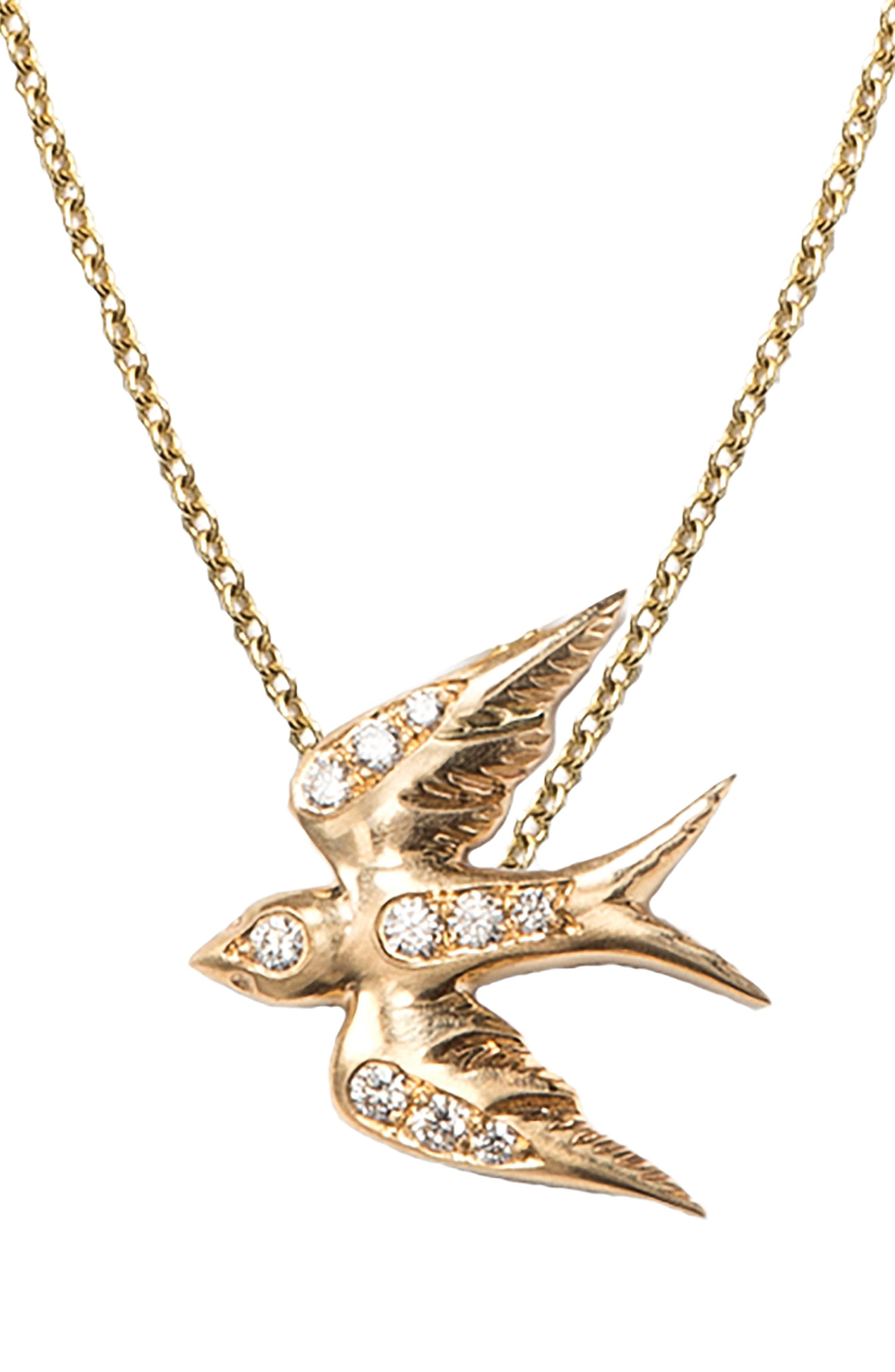 Nora Kogan Diamond Swallow Pendant Necklace In Yellow Gold