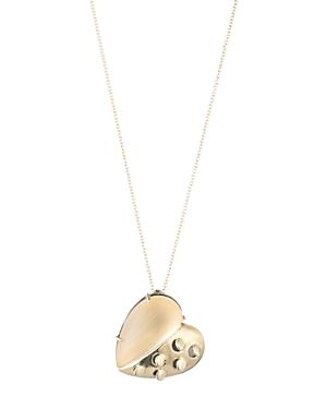 Alexis Bittar Small Lucite Grater Heart Pendant Necklace In Gold