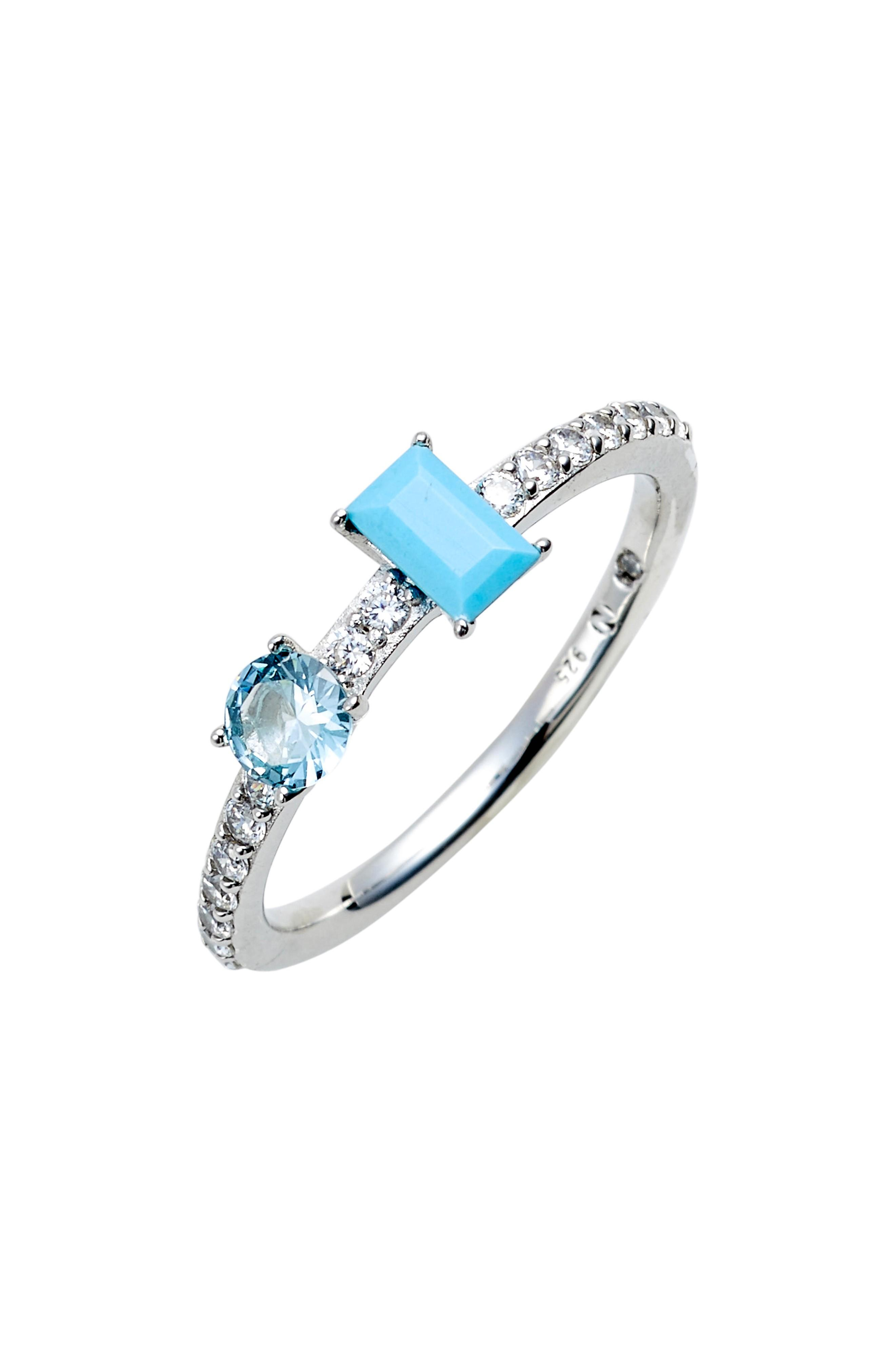 Nadri Turquoise & Crystal Ring In Silver